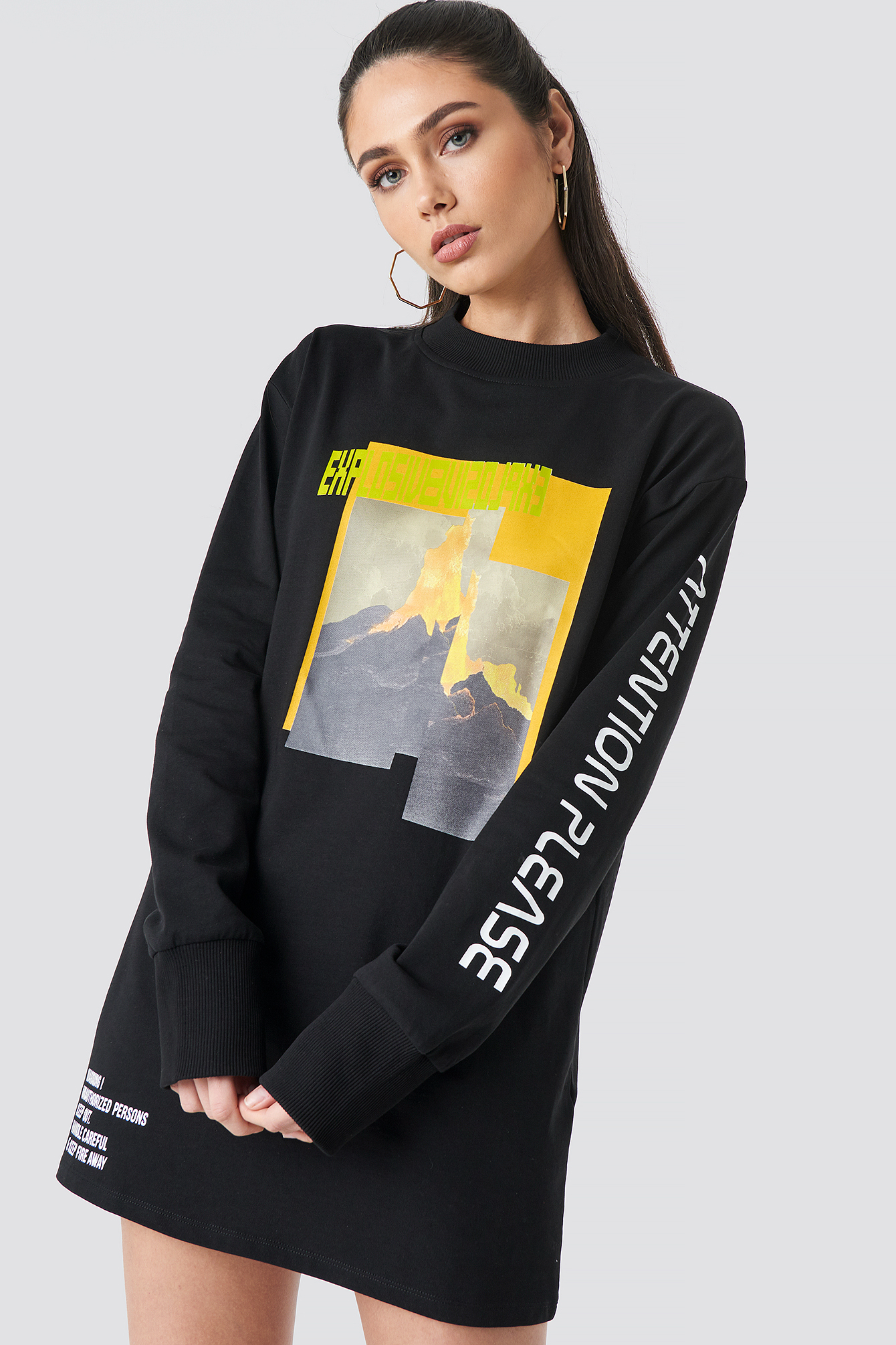 Explosive Long Sleeve T-shirt Dress NA-KDLOUNGE.DE