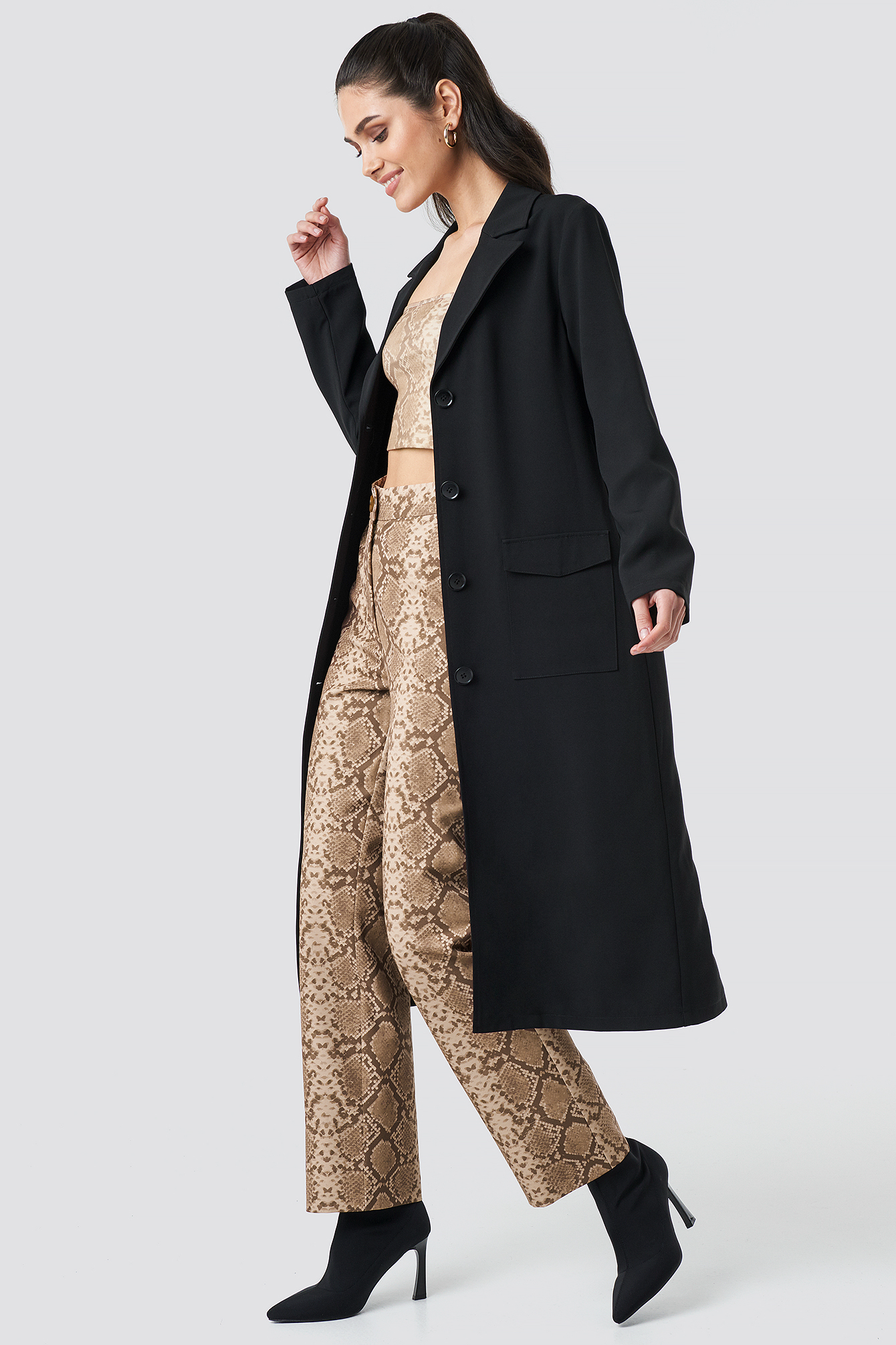 Front Button Ankle Coat NA-KDLOUNGE.DE