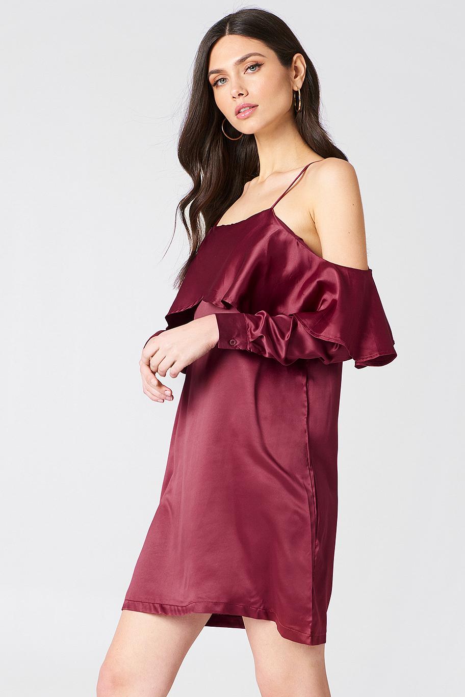 Open Shoulder Frill Dress NA-KDLOUNGE.DE