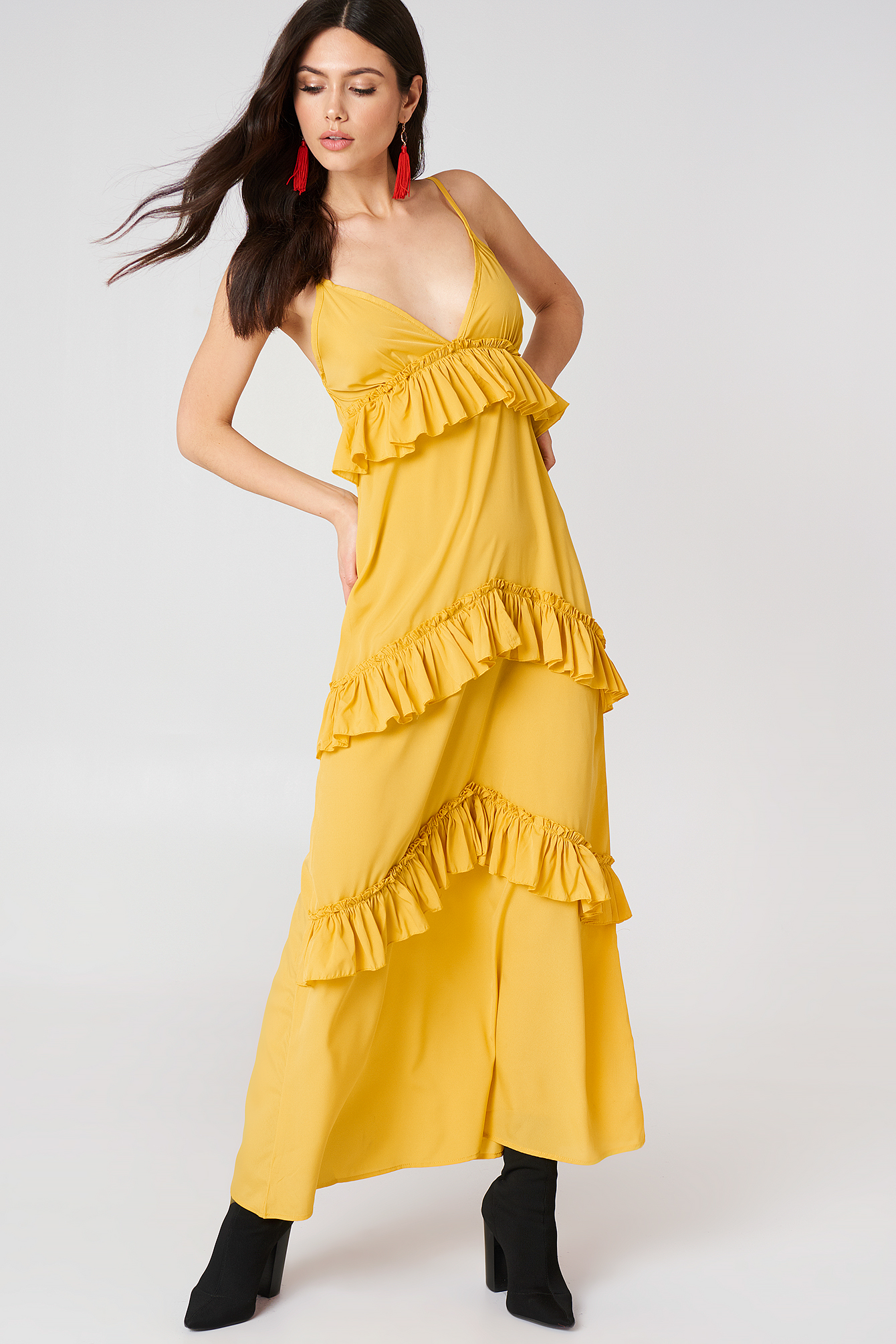 Ruffle Strap Maxi Dress NA-KDLOUNGE.DE