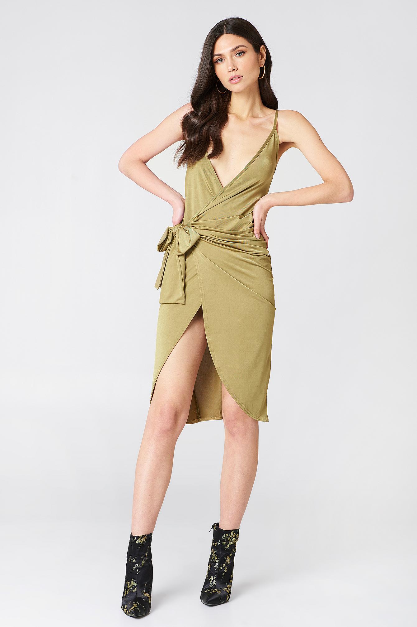 Strappy Knot Wrap Dress NA-KDLOUNGE.DE