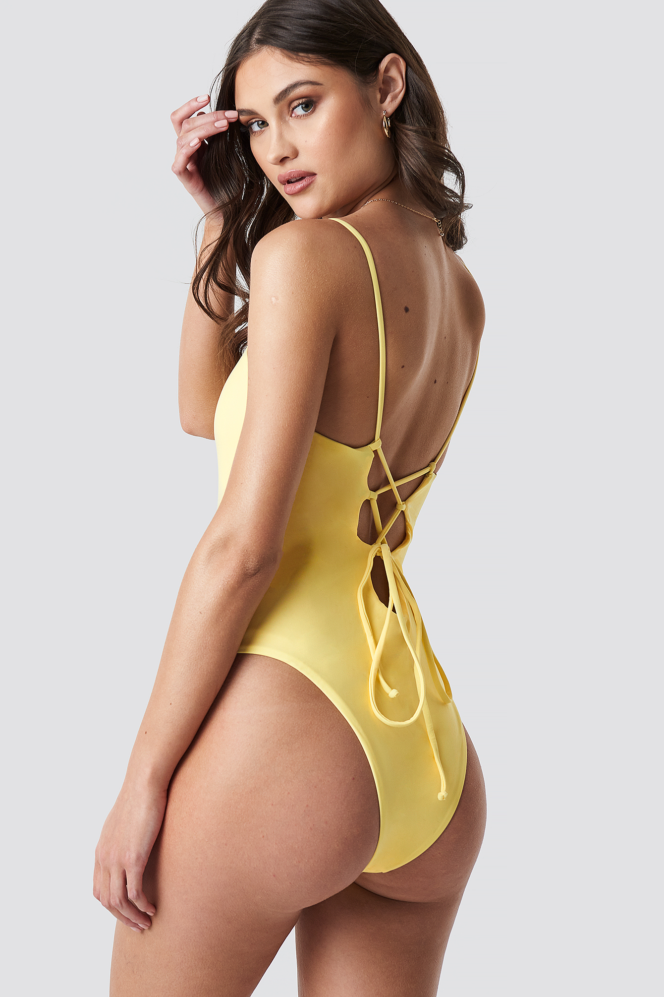 Lacing Open Back Swimsuit NA-KDLOUNGE.DE