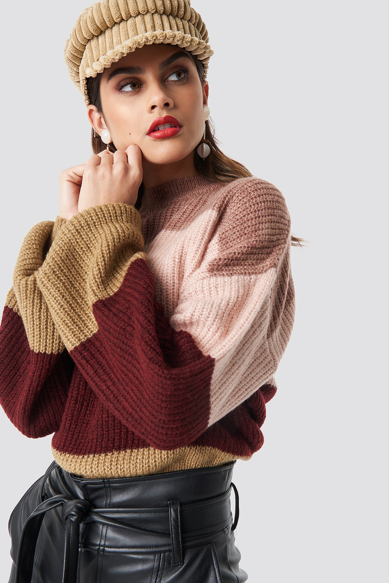 Color Striped Balloon Sleeve Knitted Sweater NA-KDLOUNGE.DE