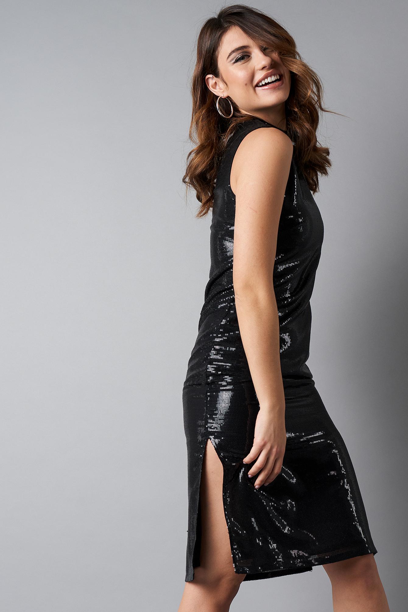 High Neck Side Slit Sequins Dress NA-KDLOUNGE.DE