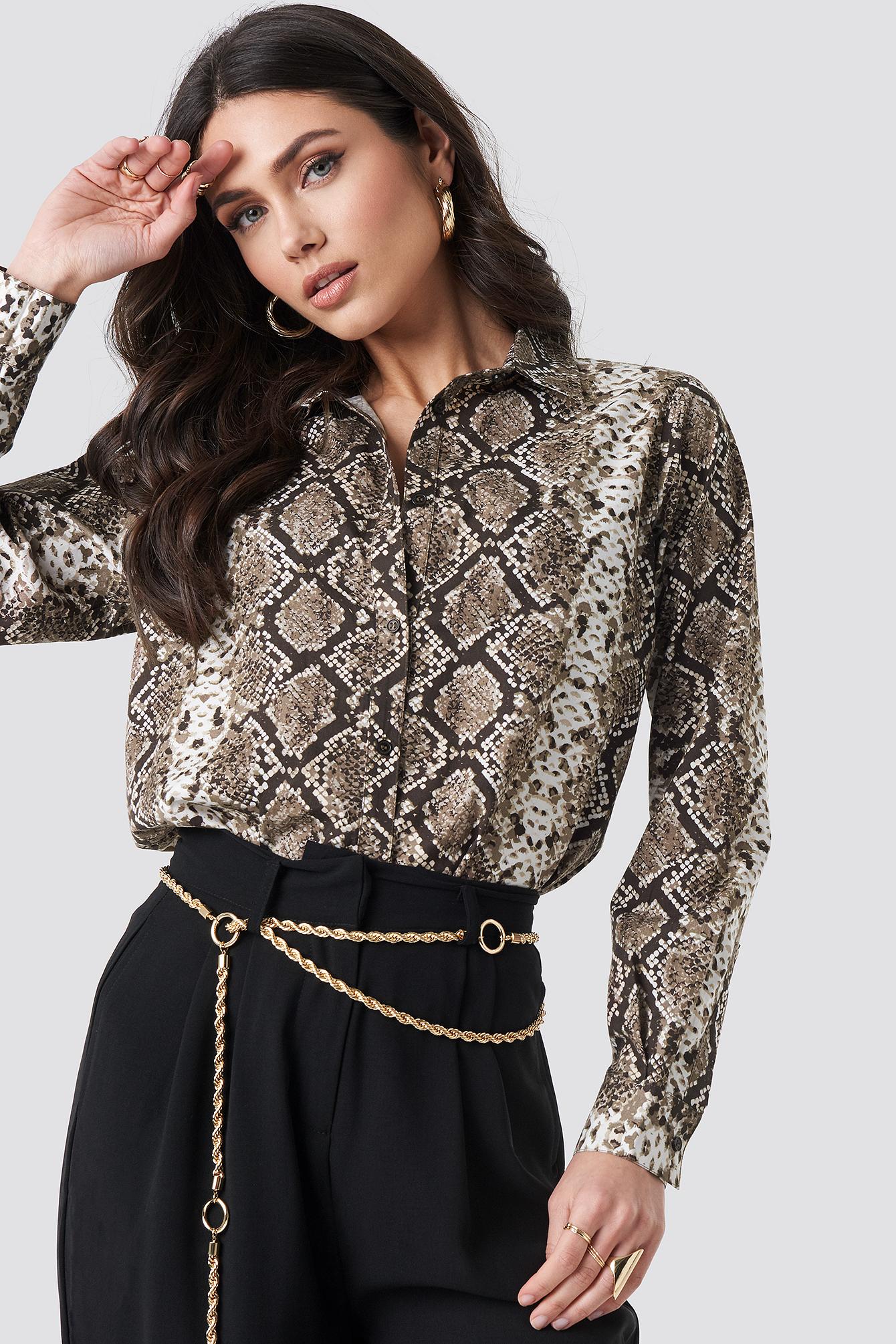 Snake Printed Cotton Shirt NA-KDLOUNGE.DE