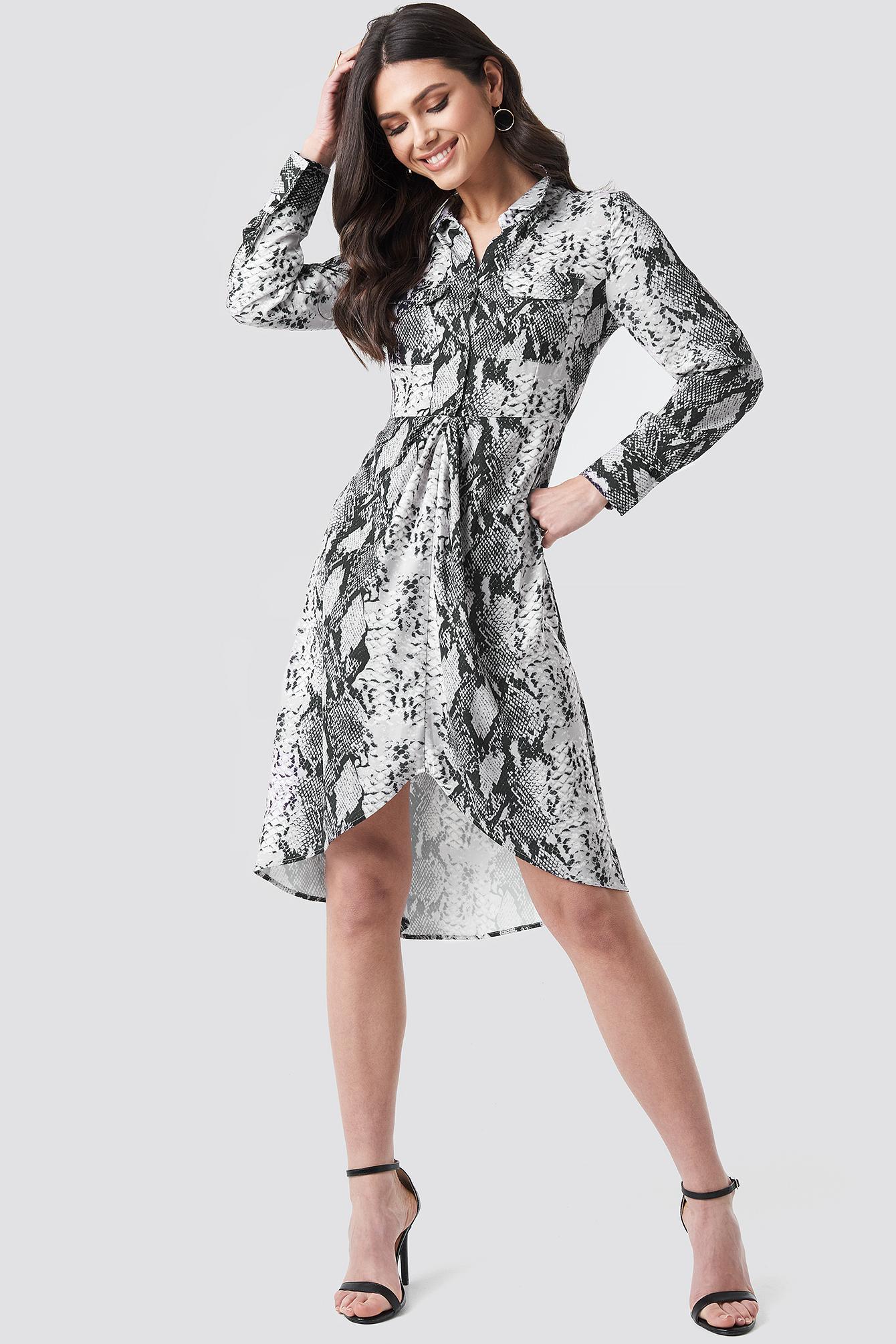 Snake Printed Shirt Dress NA-KDLOUNGE.DE