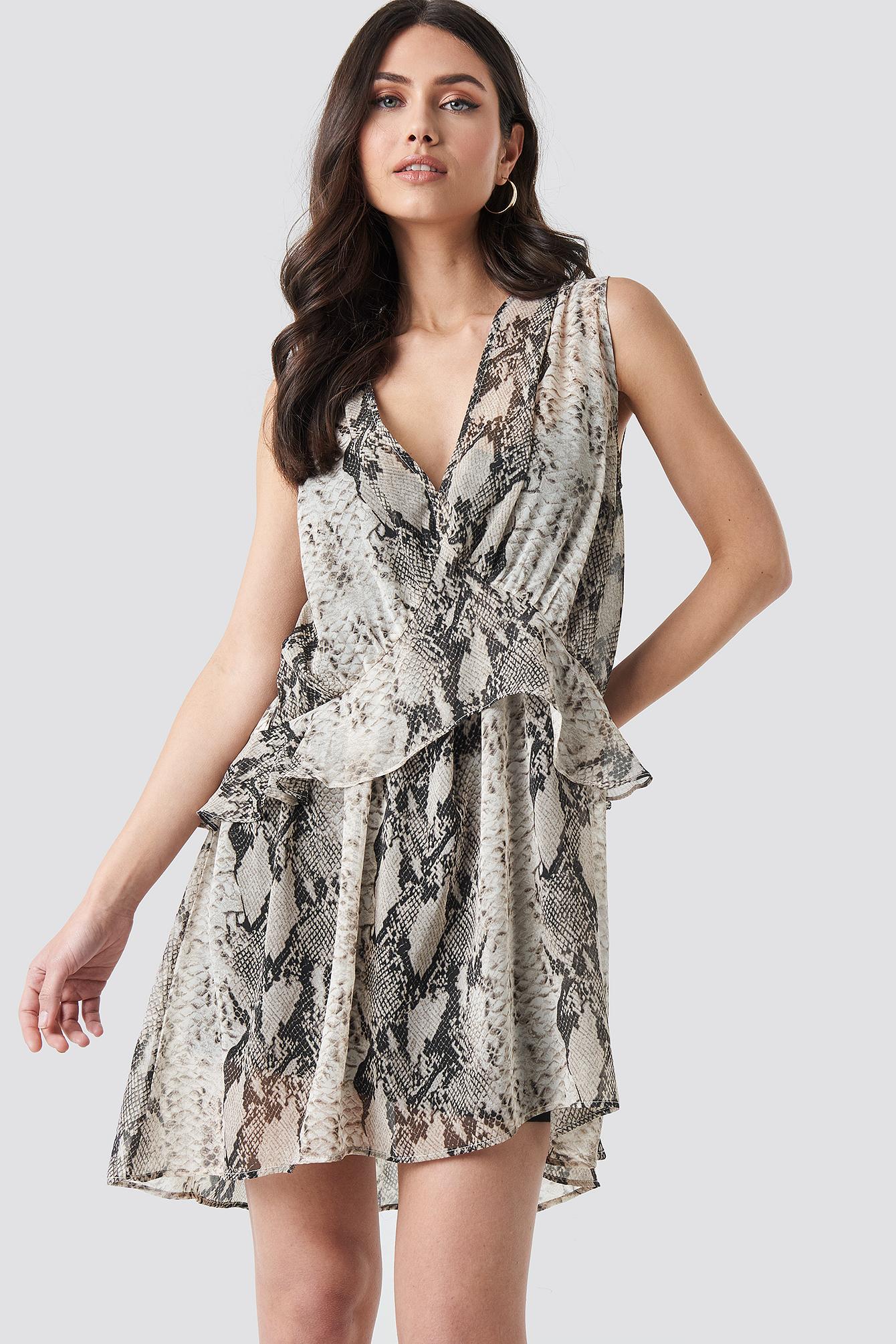 Snake printed Short Chiffon Dress NA-KDLOUNGE.DE