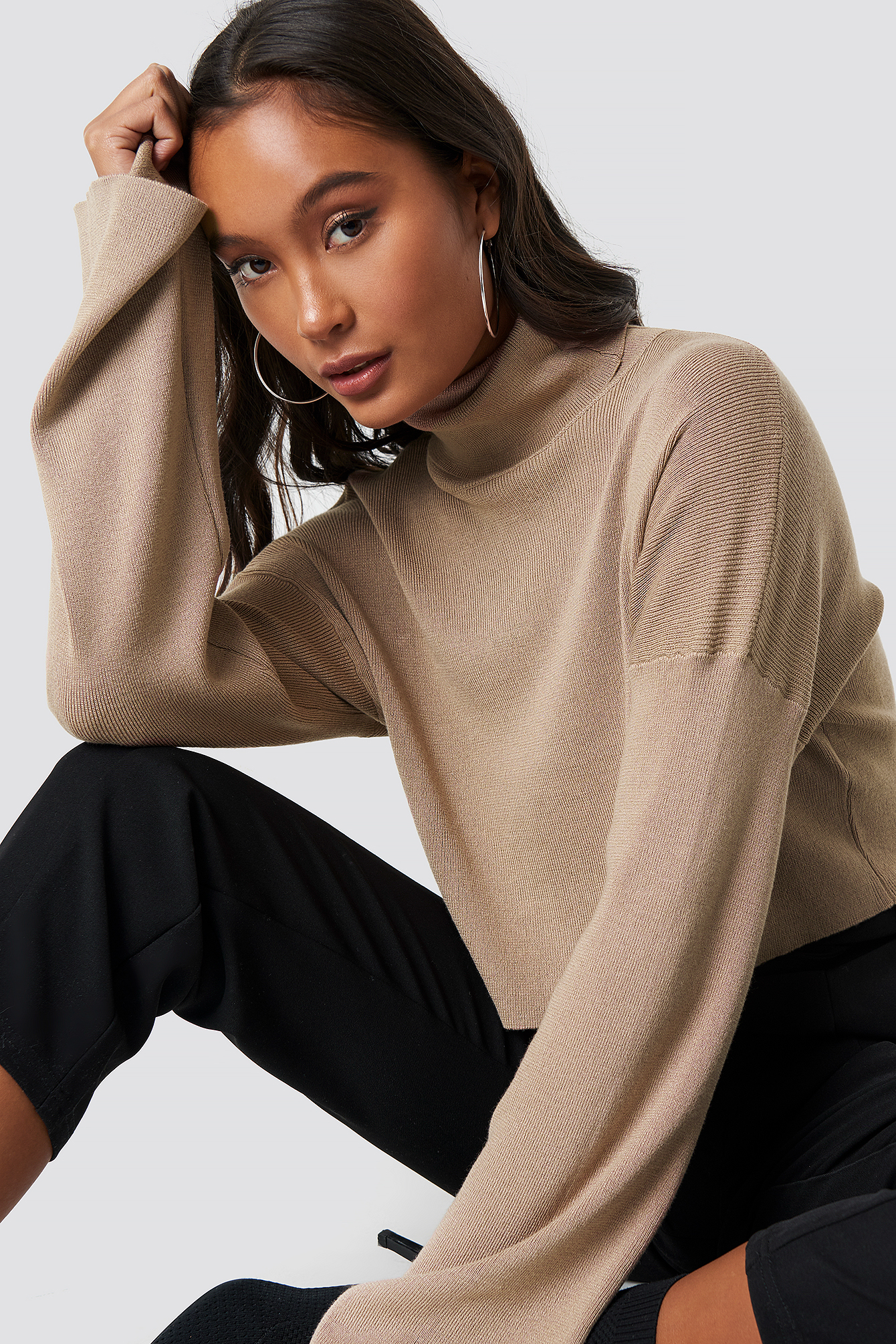 High Neck Cropped Sweater NA-KDLOUNGE.DE