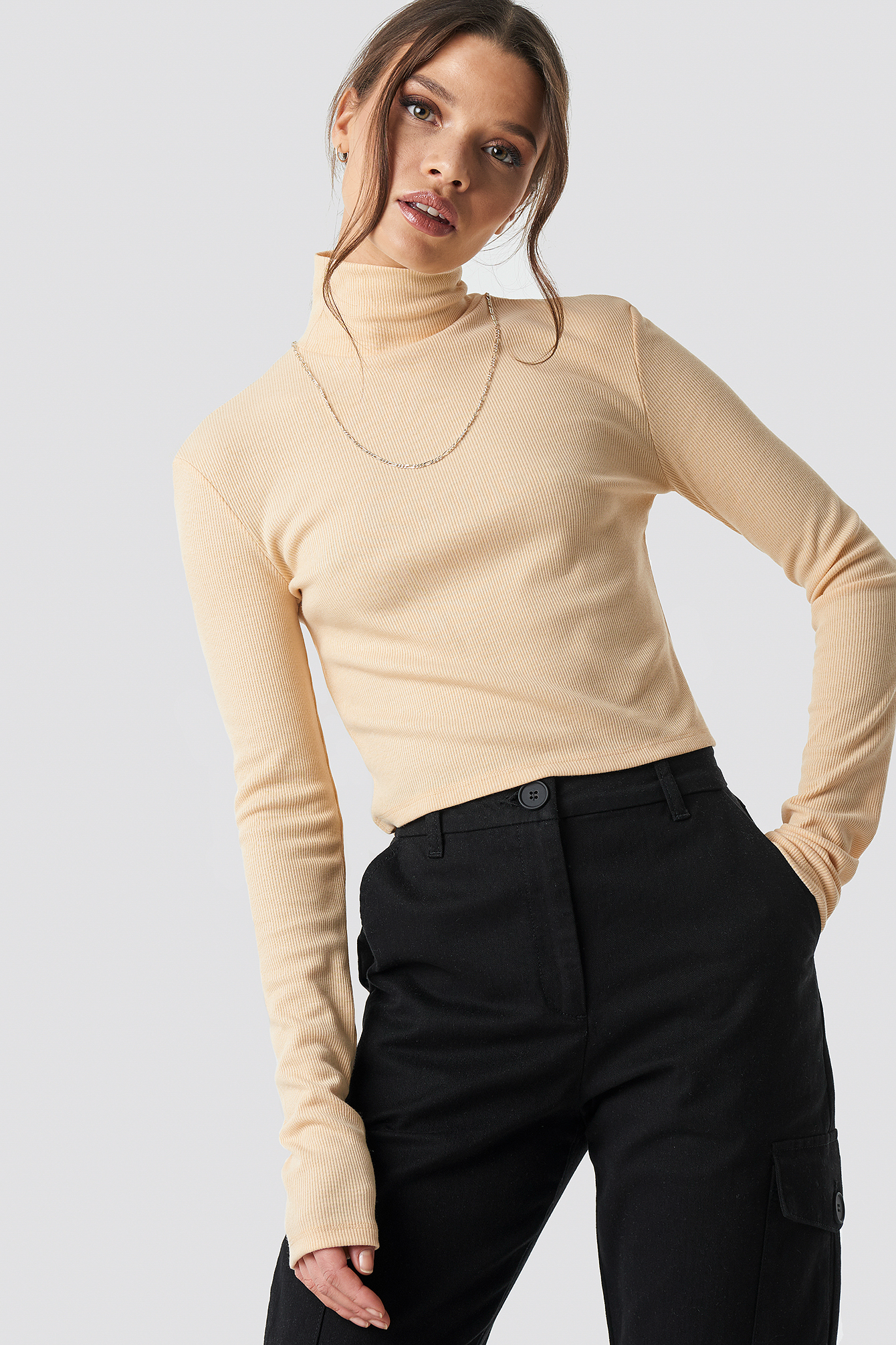 Ribbed Turtleneck Crop Top NA-KDLOUNGE.DE