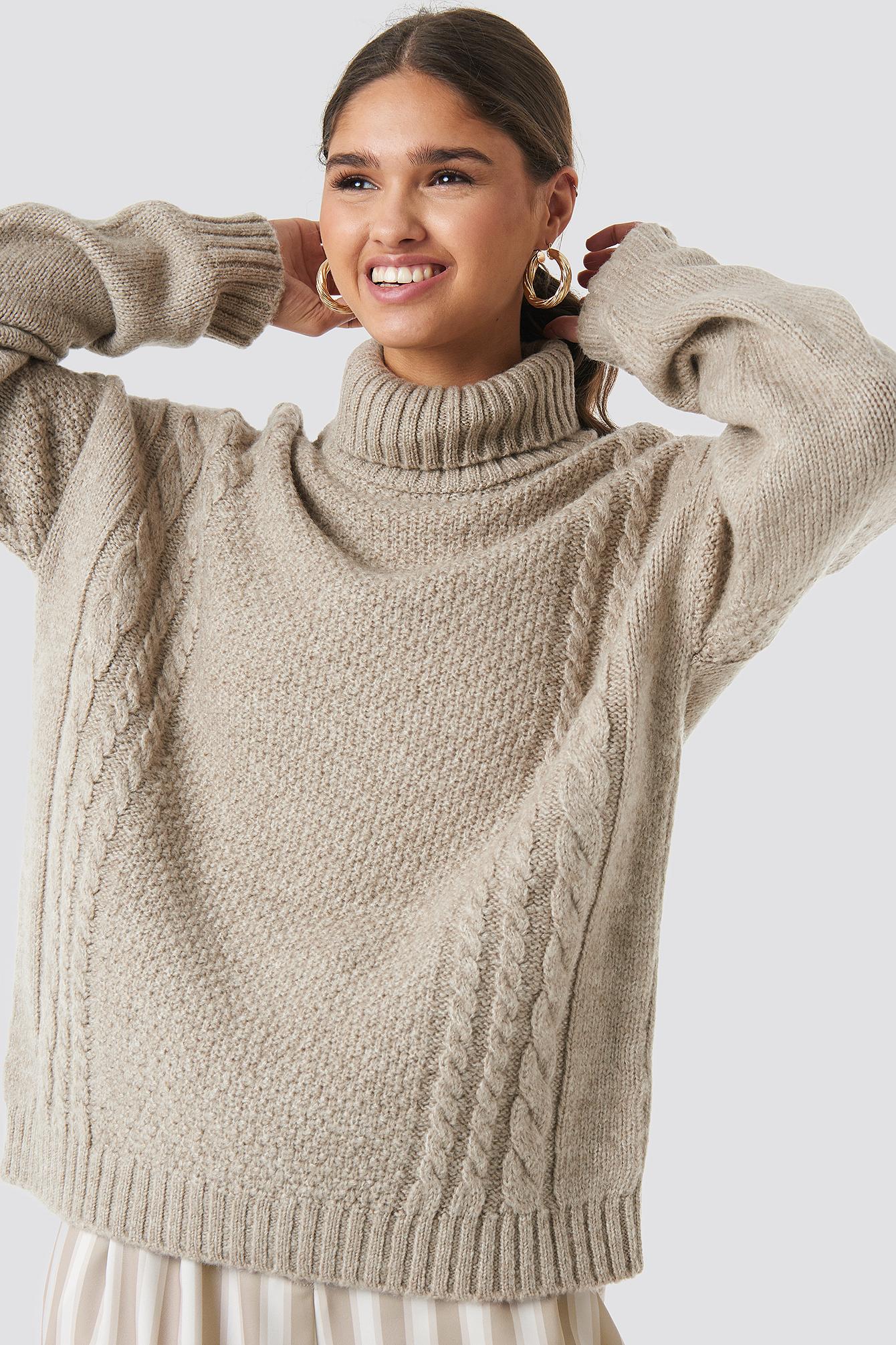 Cable Knit Turtleneck Sweater NA-KDLOUNGE.DE