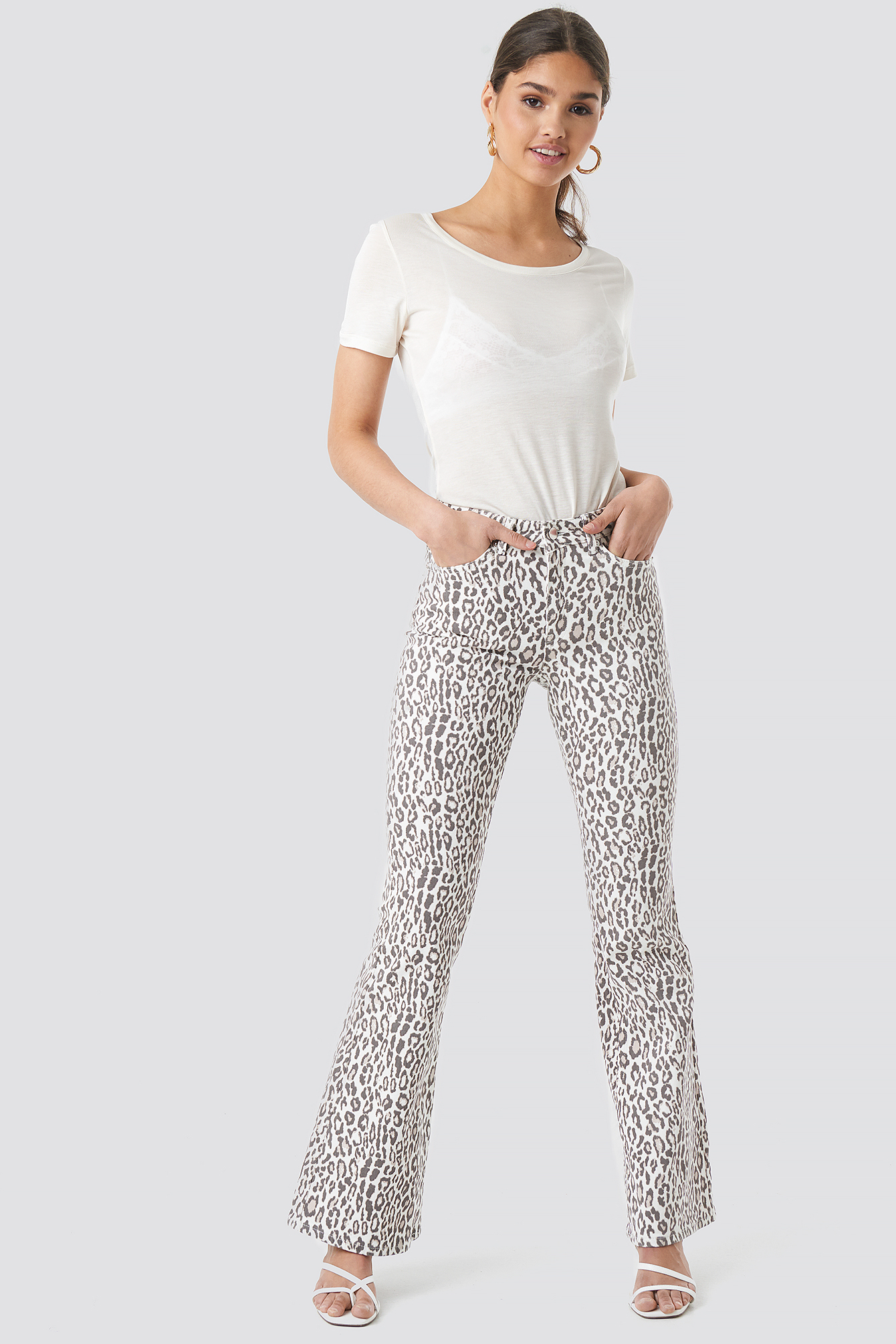 Leopard Flared Denim NA-KDLOUNGE.DE