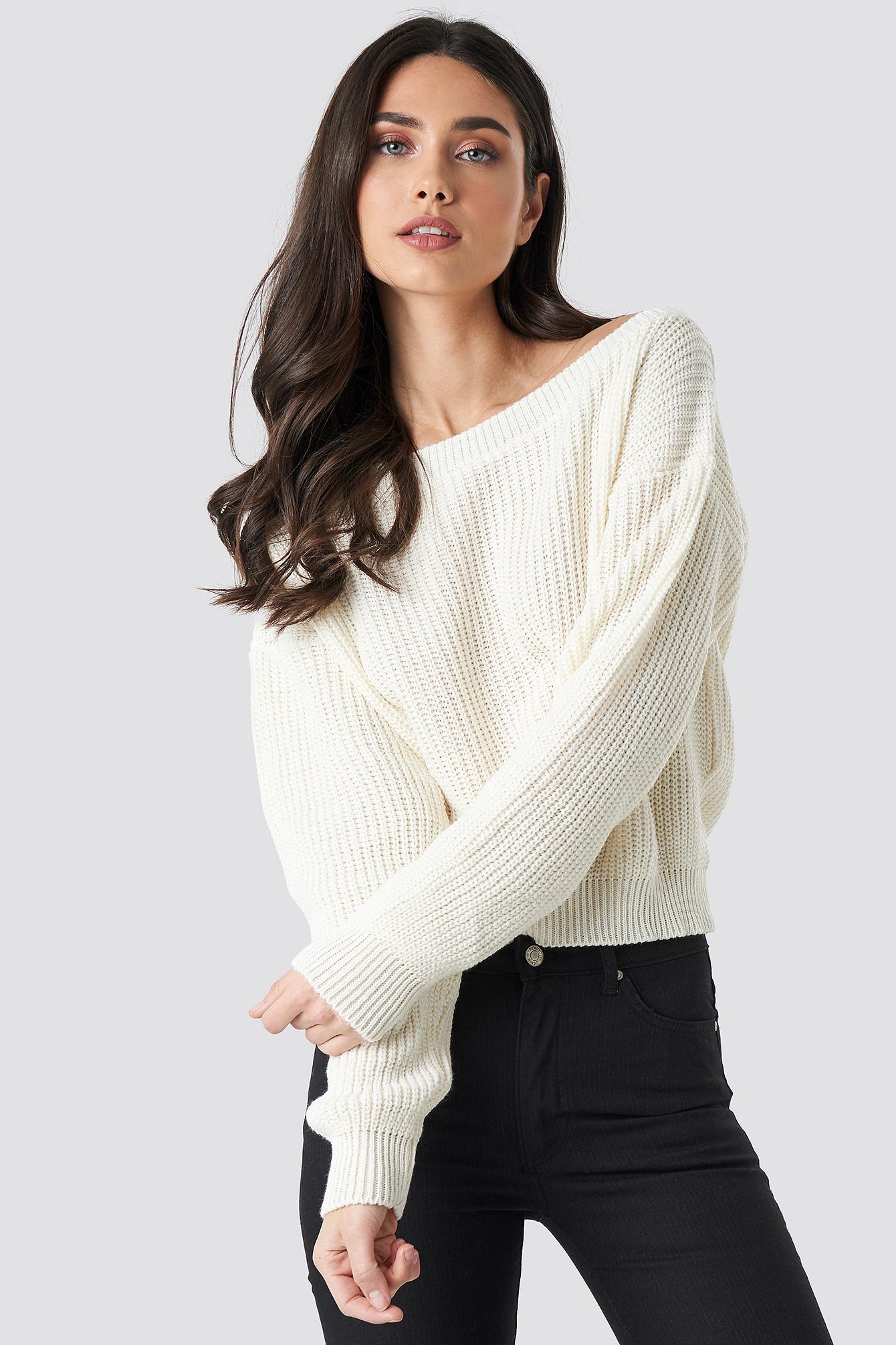 Knitted Slash Neck Jumper NA-KDLOUNGE.DE