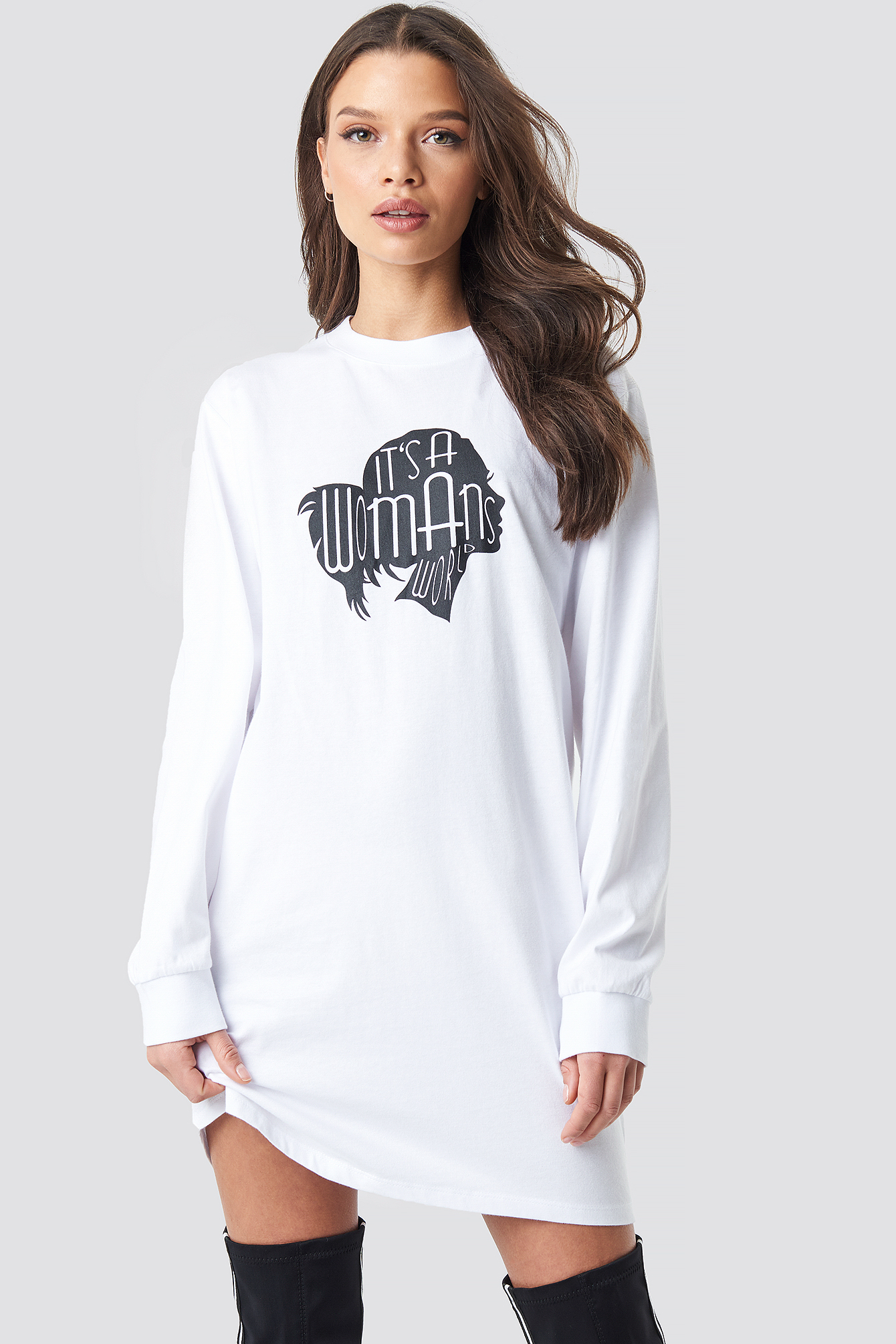 Oversized LS T-Shirt Dress NA-KDLOUNGE.DE