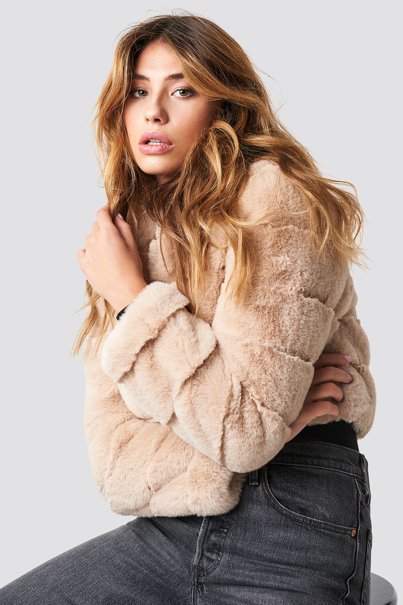 Short Puff Faux Fur Jacket NA-KDLOUNGE.DE