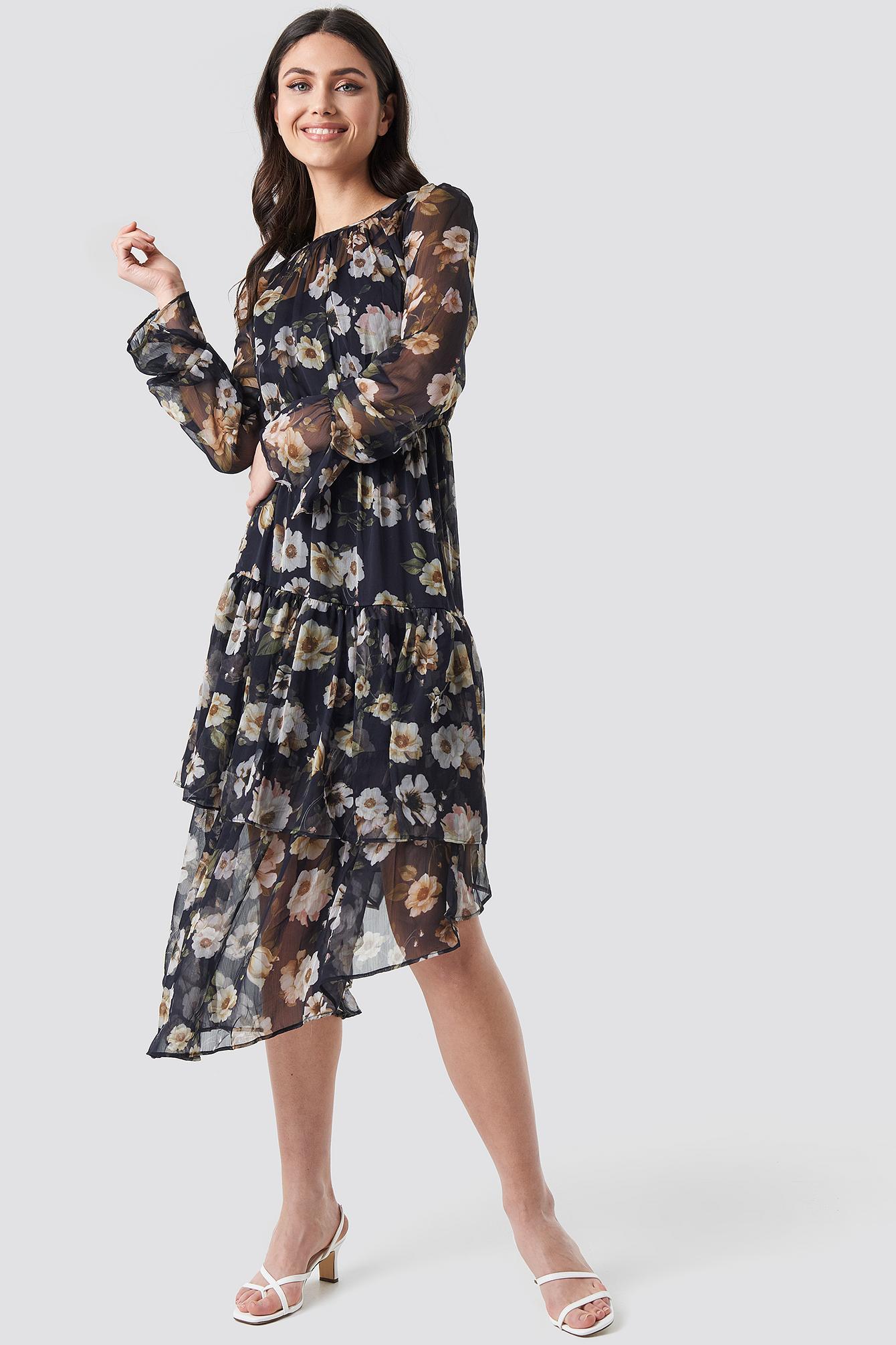 Asymmetric Chiffon Frill Dress NA-KDLOUNGE.DE