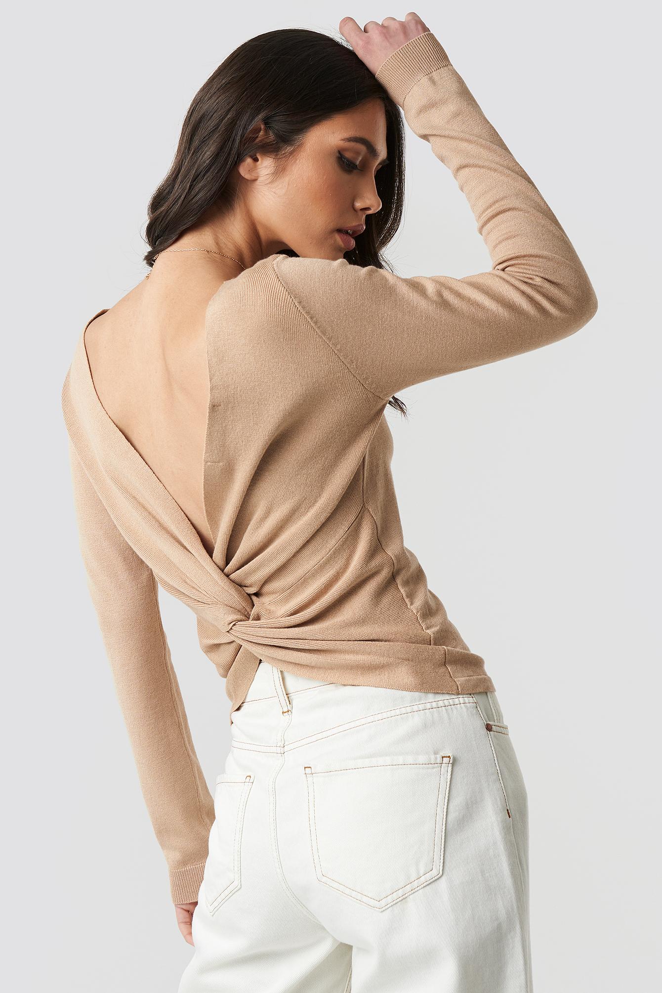 Back Cross Knitted Sweater NA-KDLOUNGE.DE