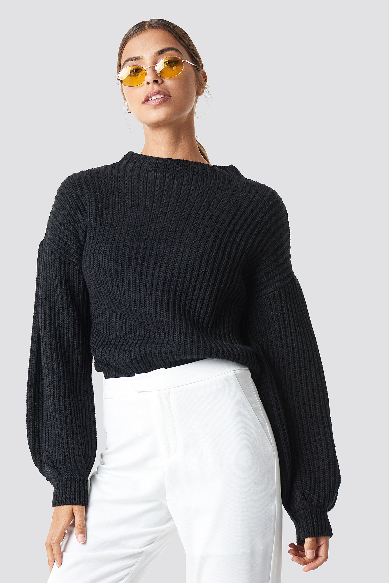 Balloon Sleeve Knitted Sweater NA-KDLOUNGE.DE