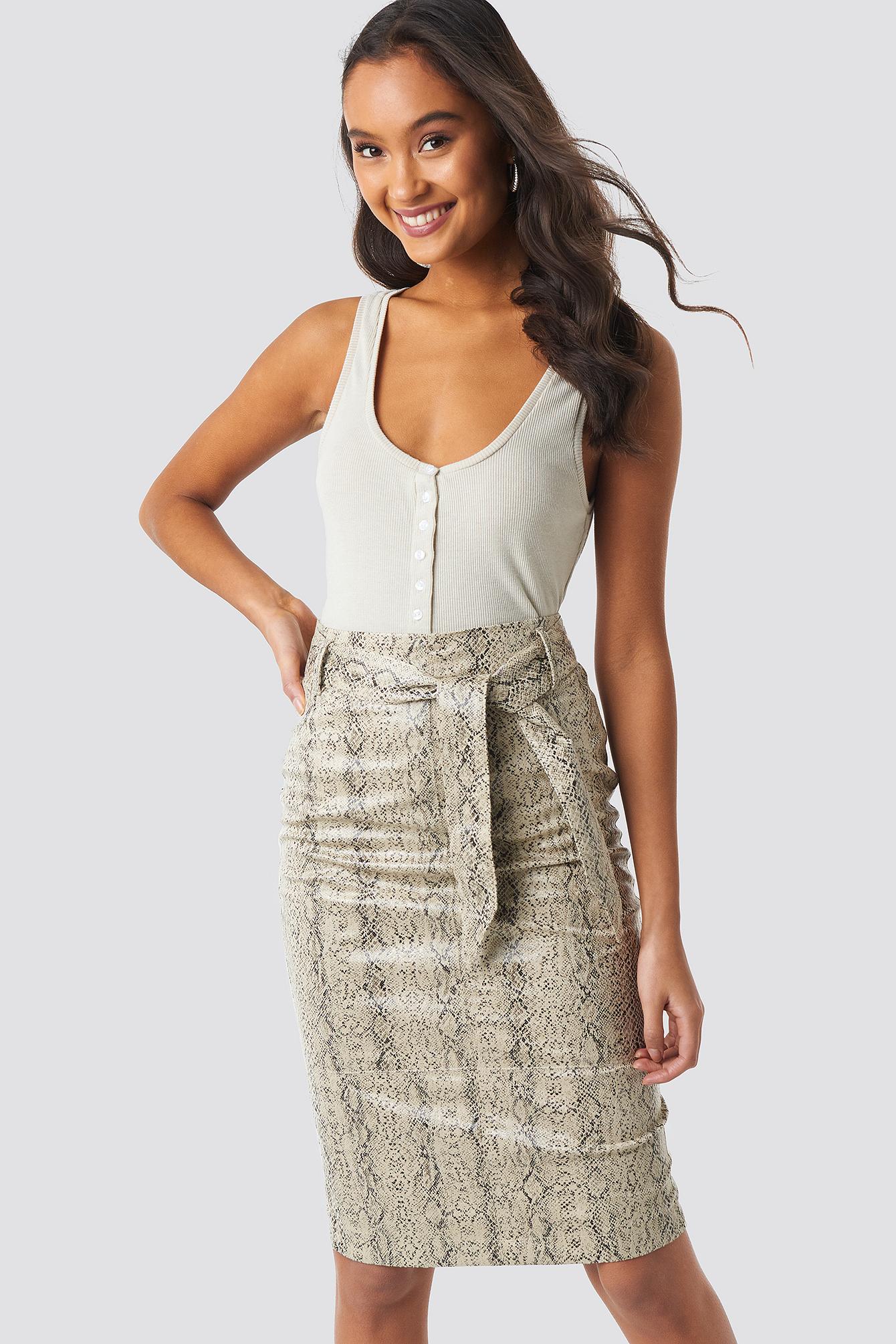 Belted Snake Skin Skirt NA-KDLOUNGE.DE