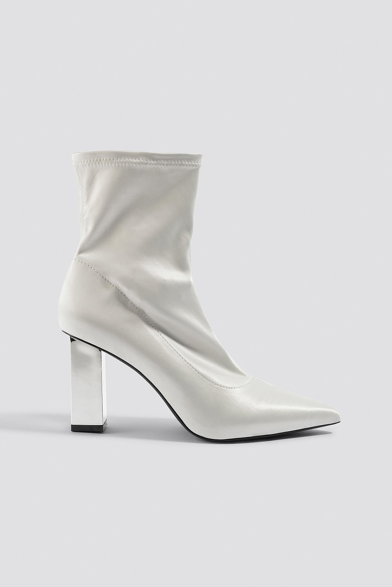Metallic Block Heel Sock Boots NA-KDLOUNGE.DE