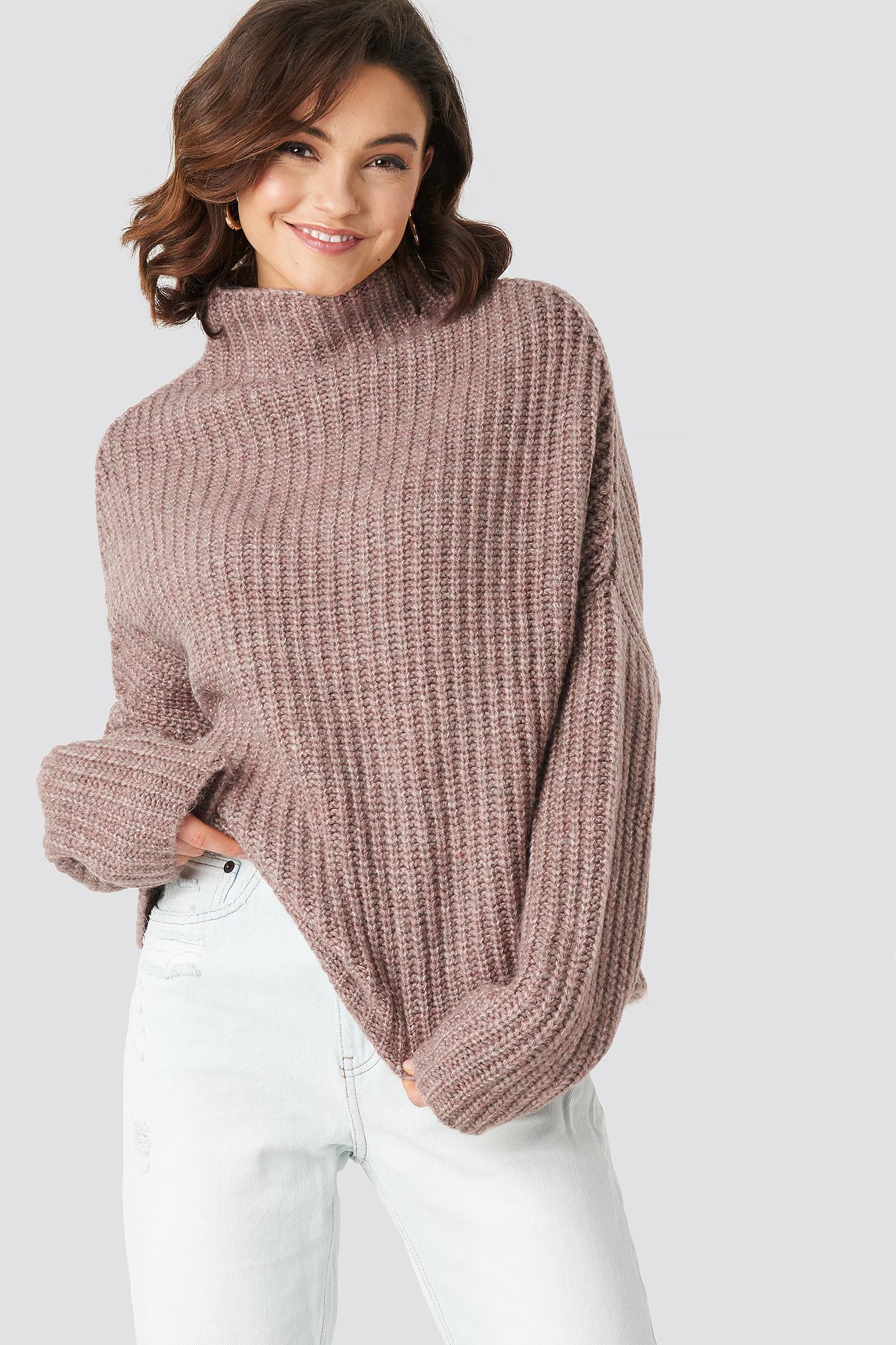 Boxy High Neck Knitted Sweater NA-KDLOUNGE.DE