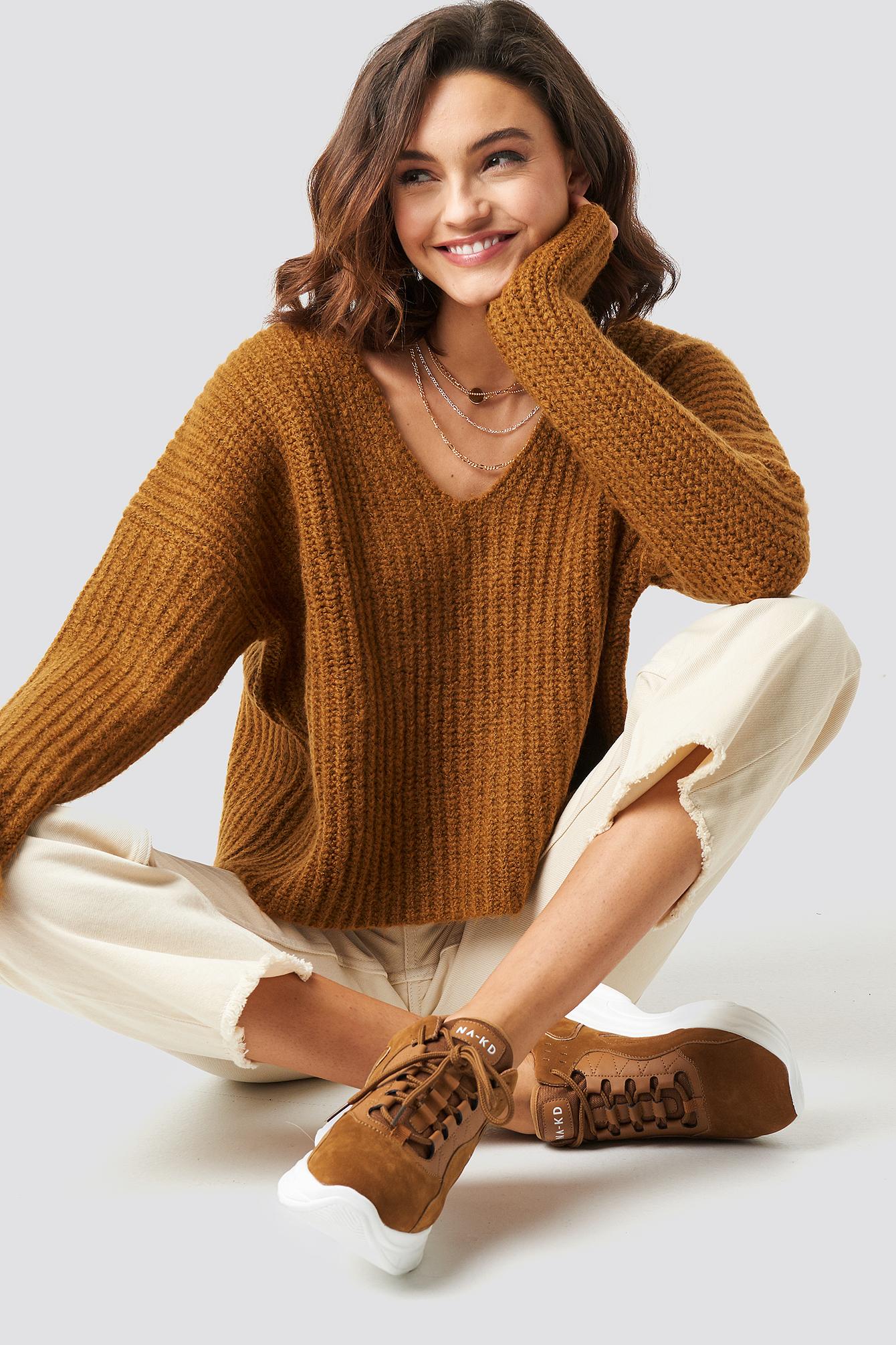 Boxy V Neck Knitted Sweater NA-KDLOUNGE.DE