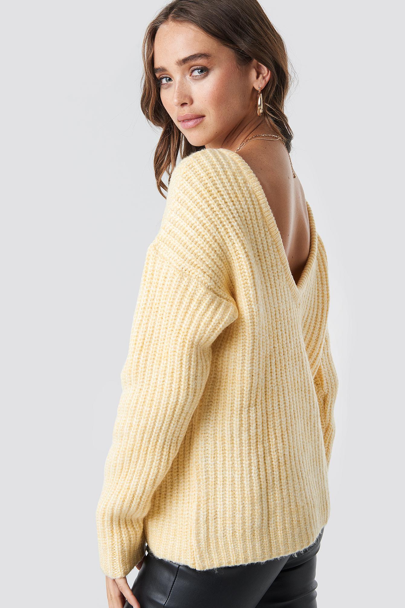 Boxy V-back Knitted Sweater NA-KDLOUNGE.DE
