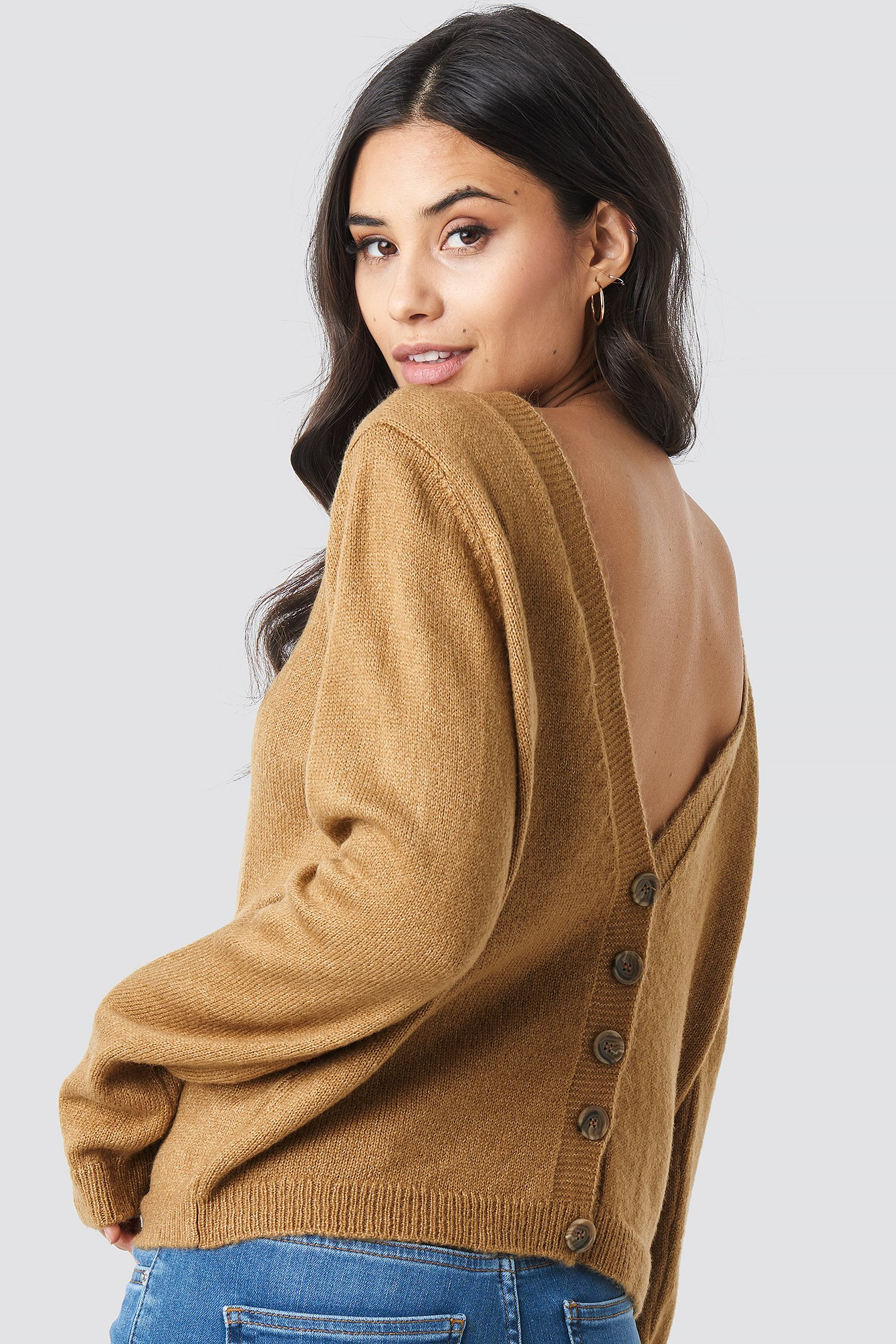 Buttoned Knitted Sweater NA-KDLOUNGE.DE