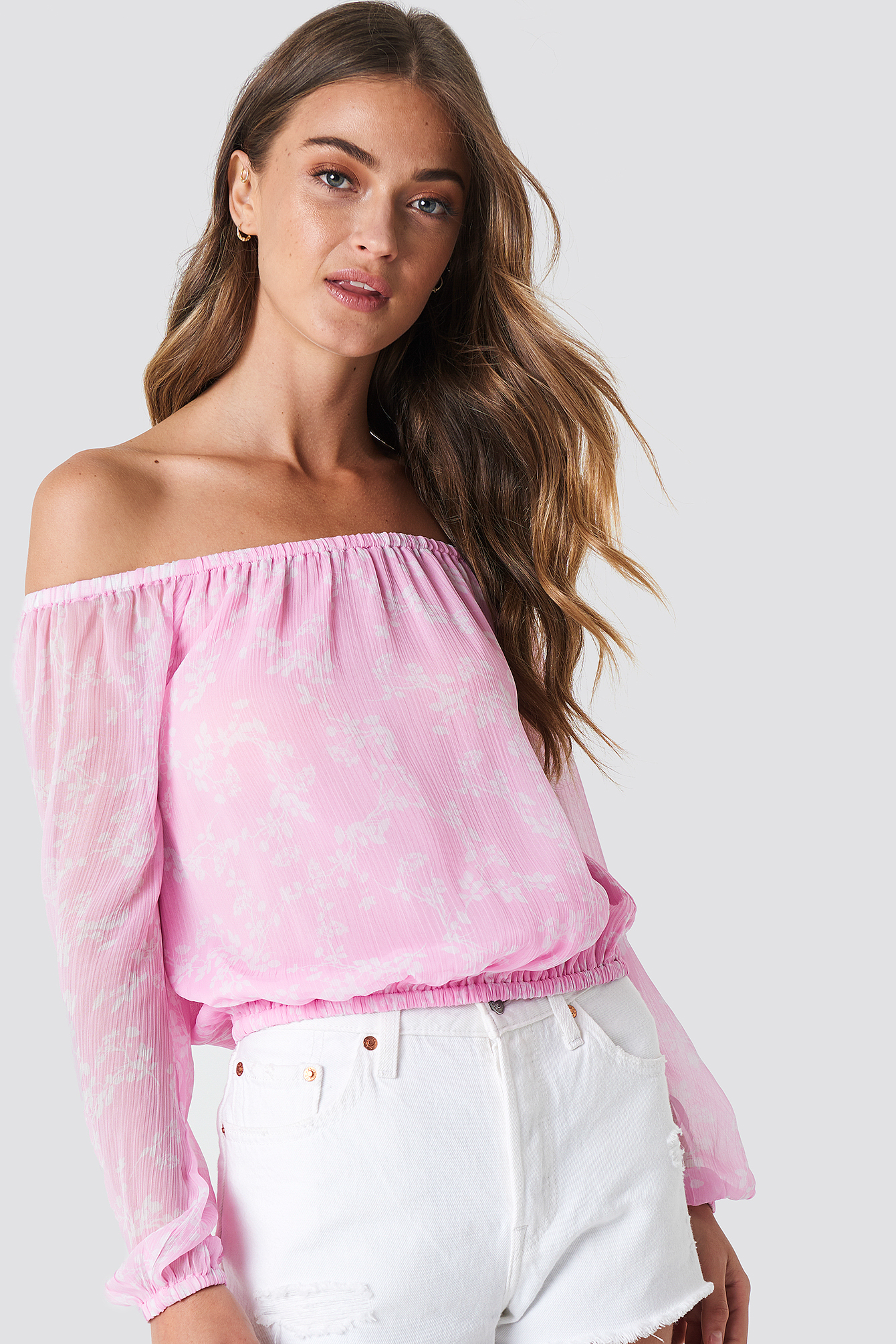 Chiffon Off Shoulder Blouse NA-KDLOUNGE.DE