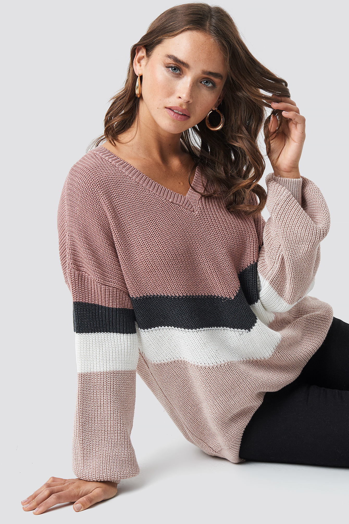 Color Blocked Balloon Sleeve Knitted Sweater NA-KDLOUNGE.DE