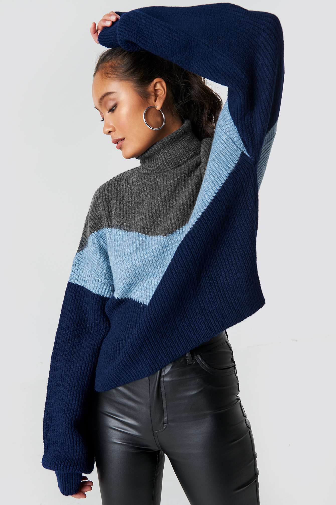 Color Blocked Turtleneck Knitted Sweater NA-KDLOUNGE.DE