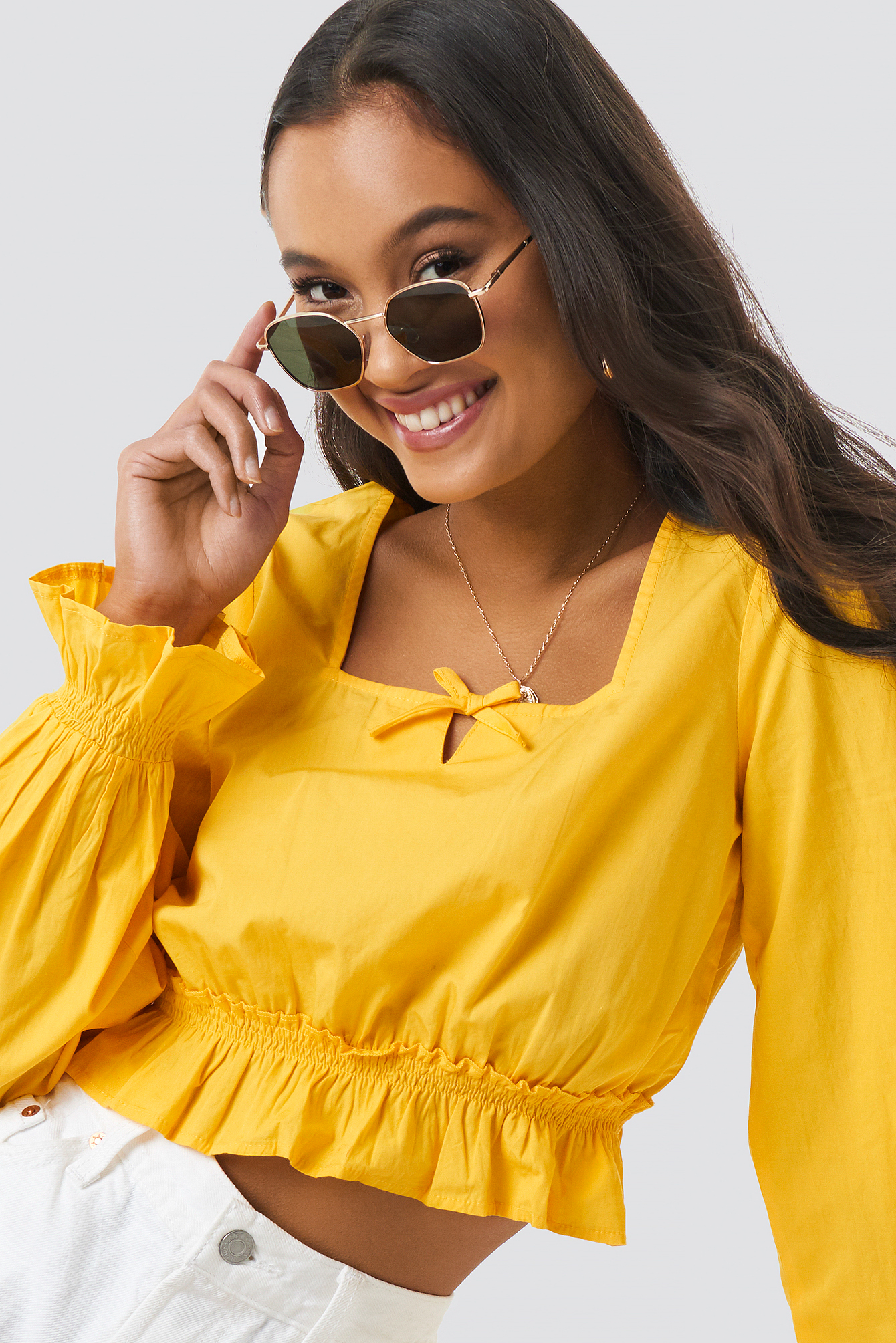 Cropped Frill Long Sleeve Top NA-KDLOUNGE.DE