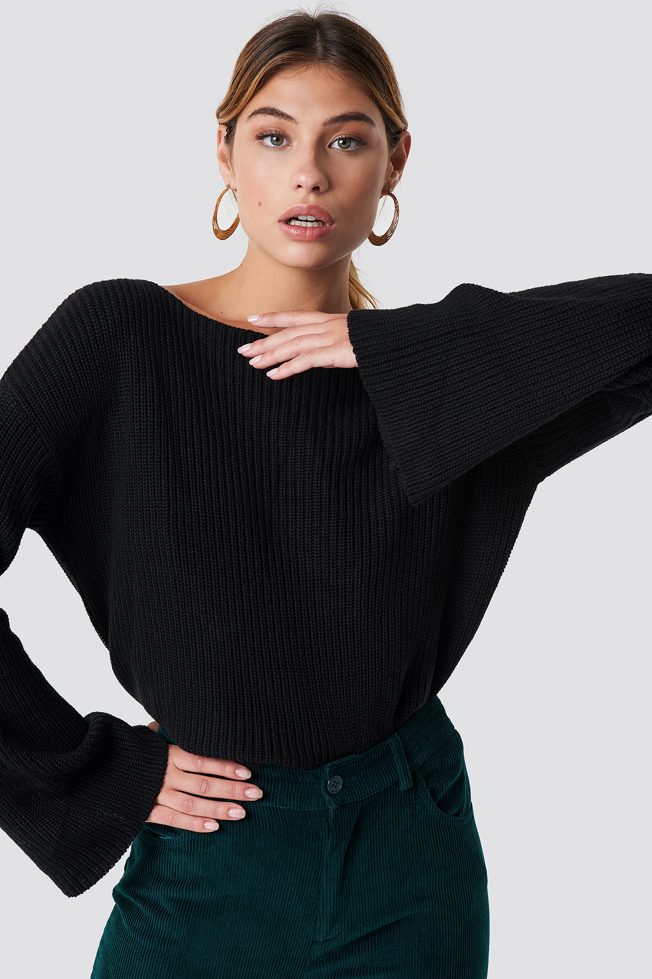 Cropped Long Sleeve Knitted Sweater NA-KDLOUNGE.DE