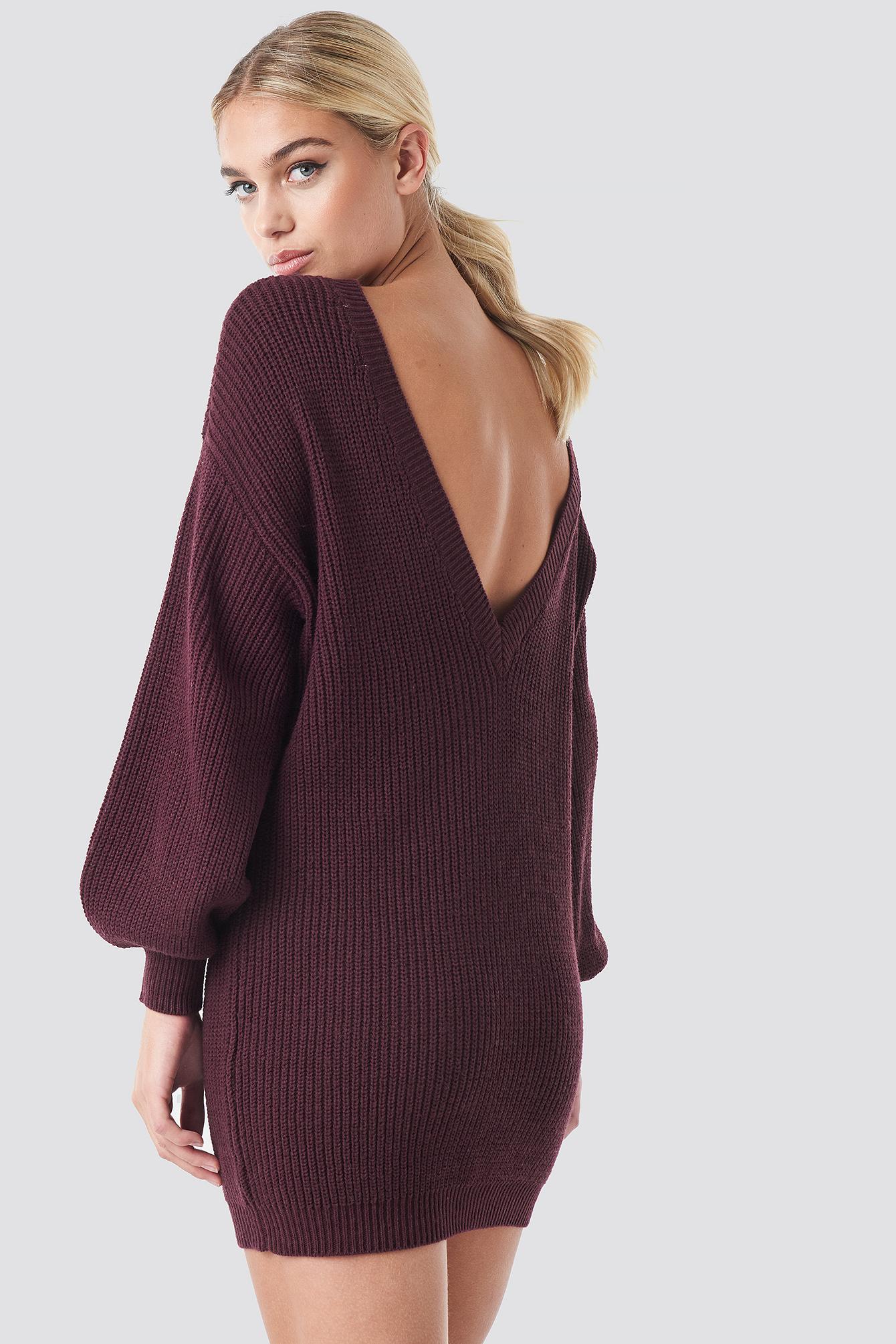 Deep V Back Long Knitted Sweater NA-KDLOUNGE.DE