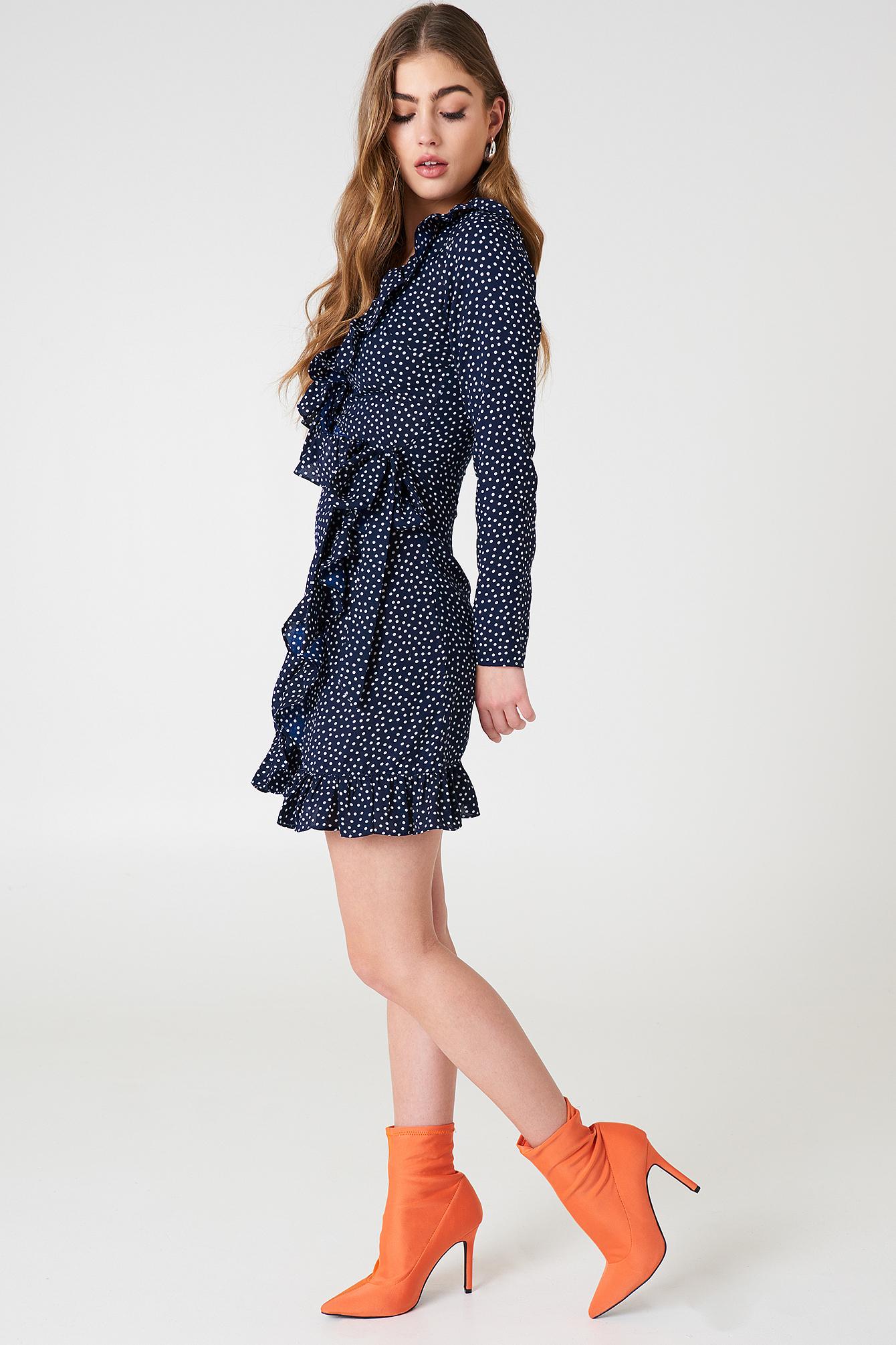 Dotted Frill Dress NA-KDLOUNGE.DE