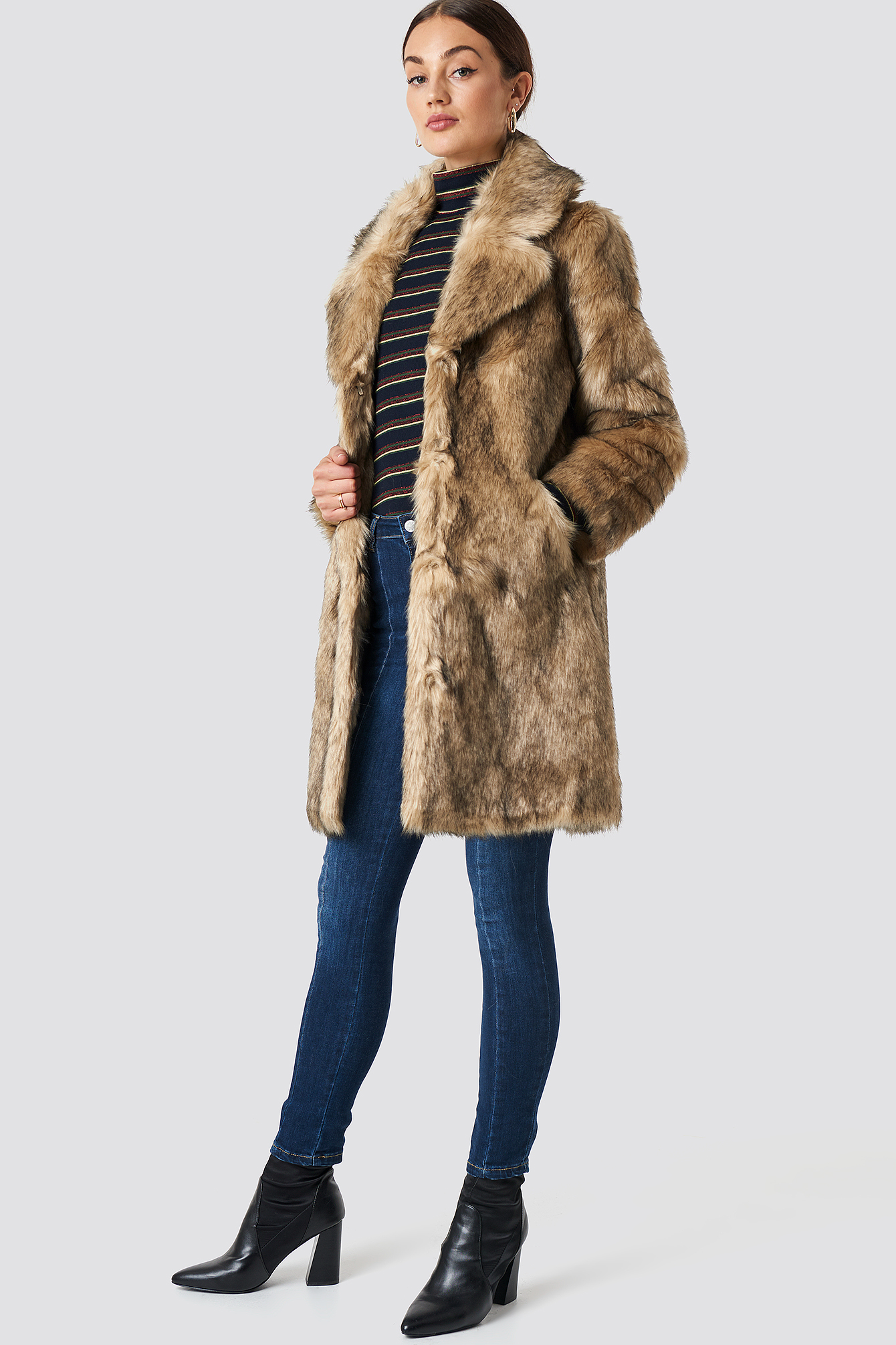 Faux Fur Collar Long Jacket NA-KDLOUNGE.DE