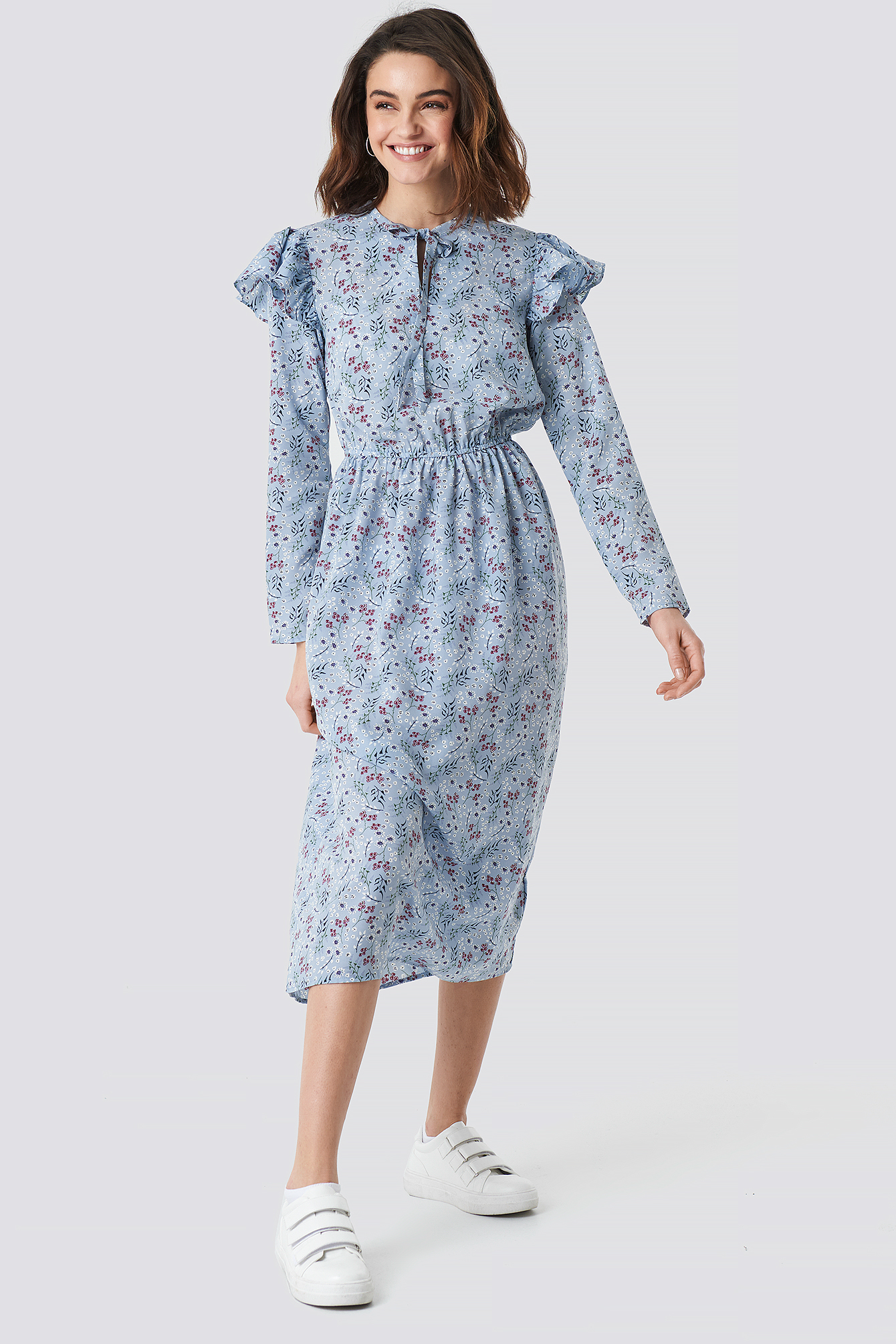 Flower Printed Ruffle Detail Dress NA-KDLOUNGE.DE