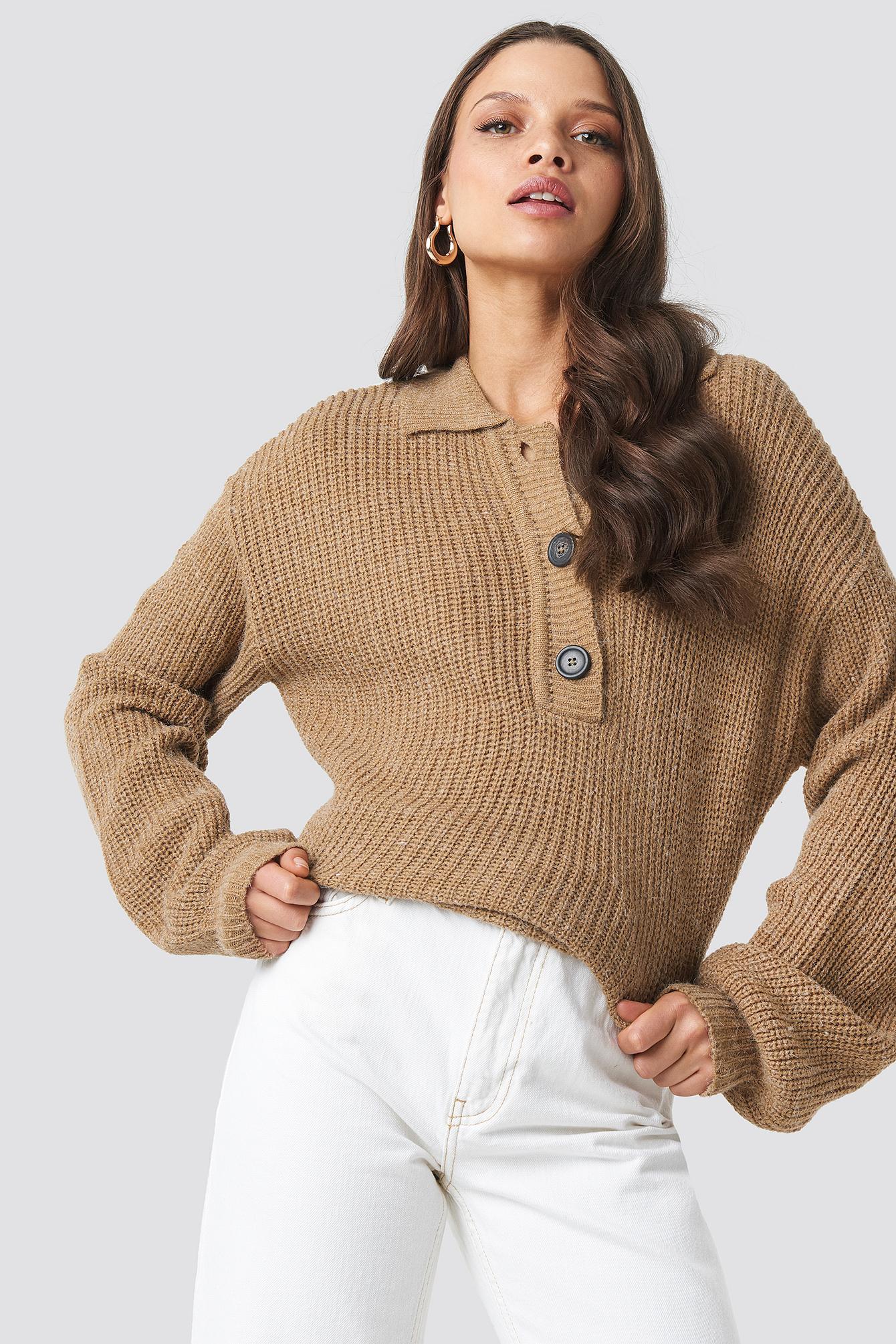 Henley Knitted Sweater NA-KDLOUNGE.DE