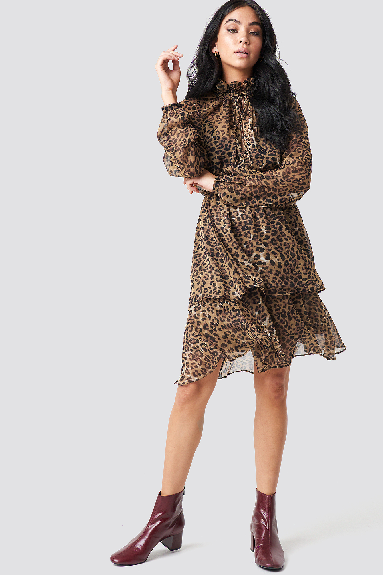 High Frill Neck Dress NA-KDLOUNGE.DE