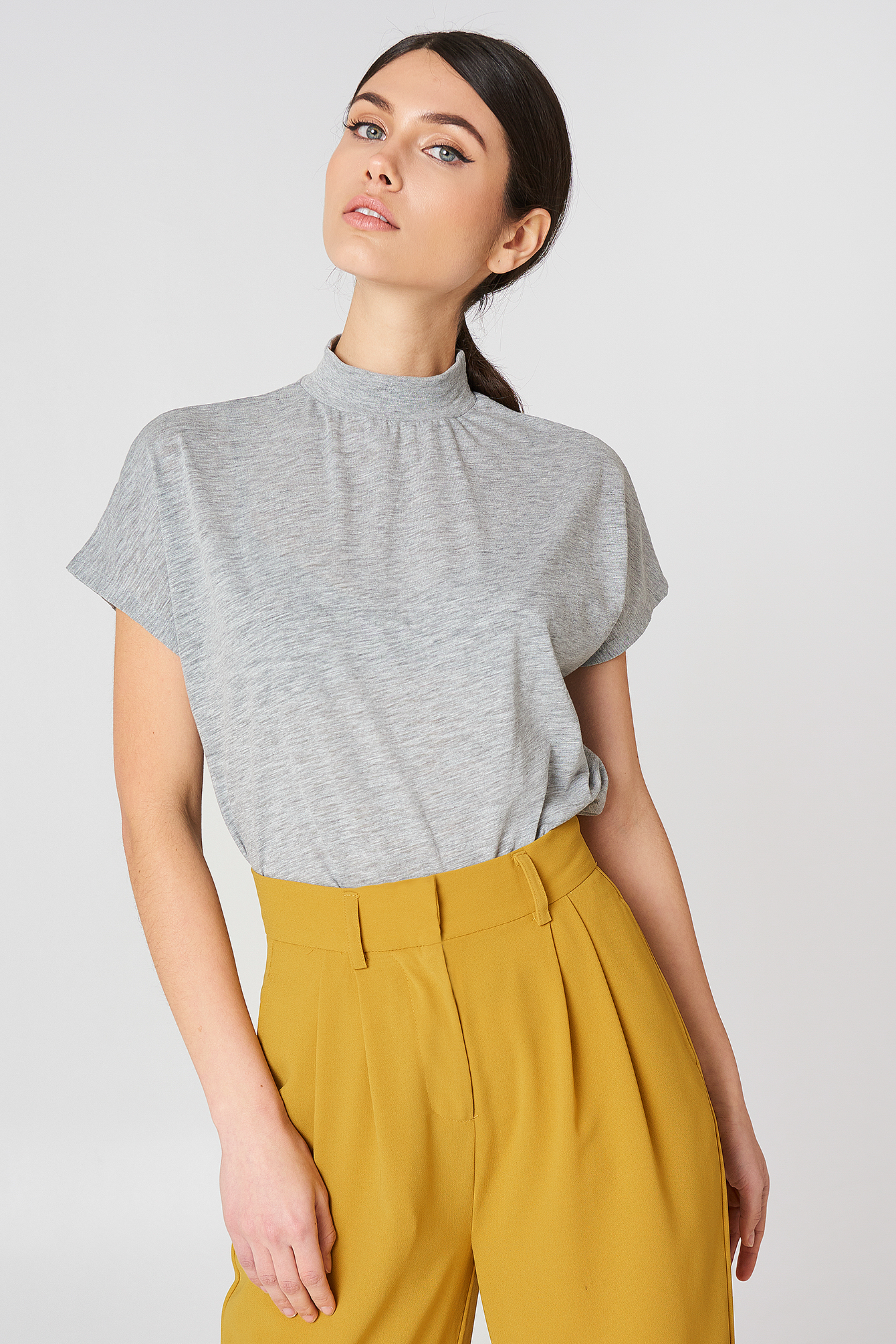 High Neck Cap Sleeve Top NA-KDLOUNGE.DE