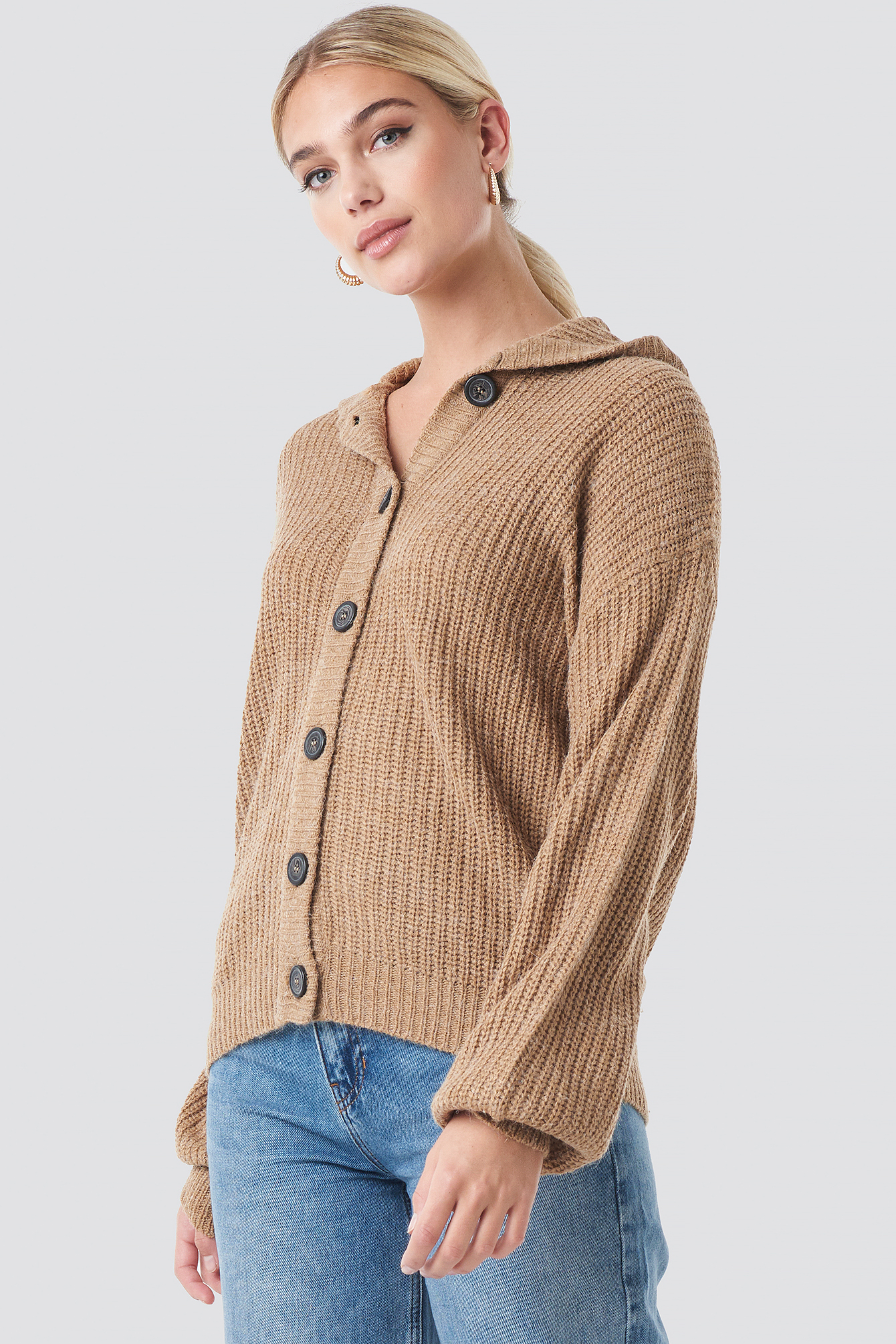 Hood Knitted Sweater NA-KDLOUNGE.DE