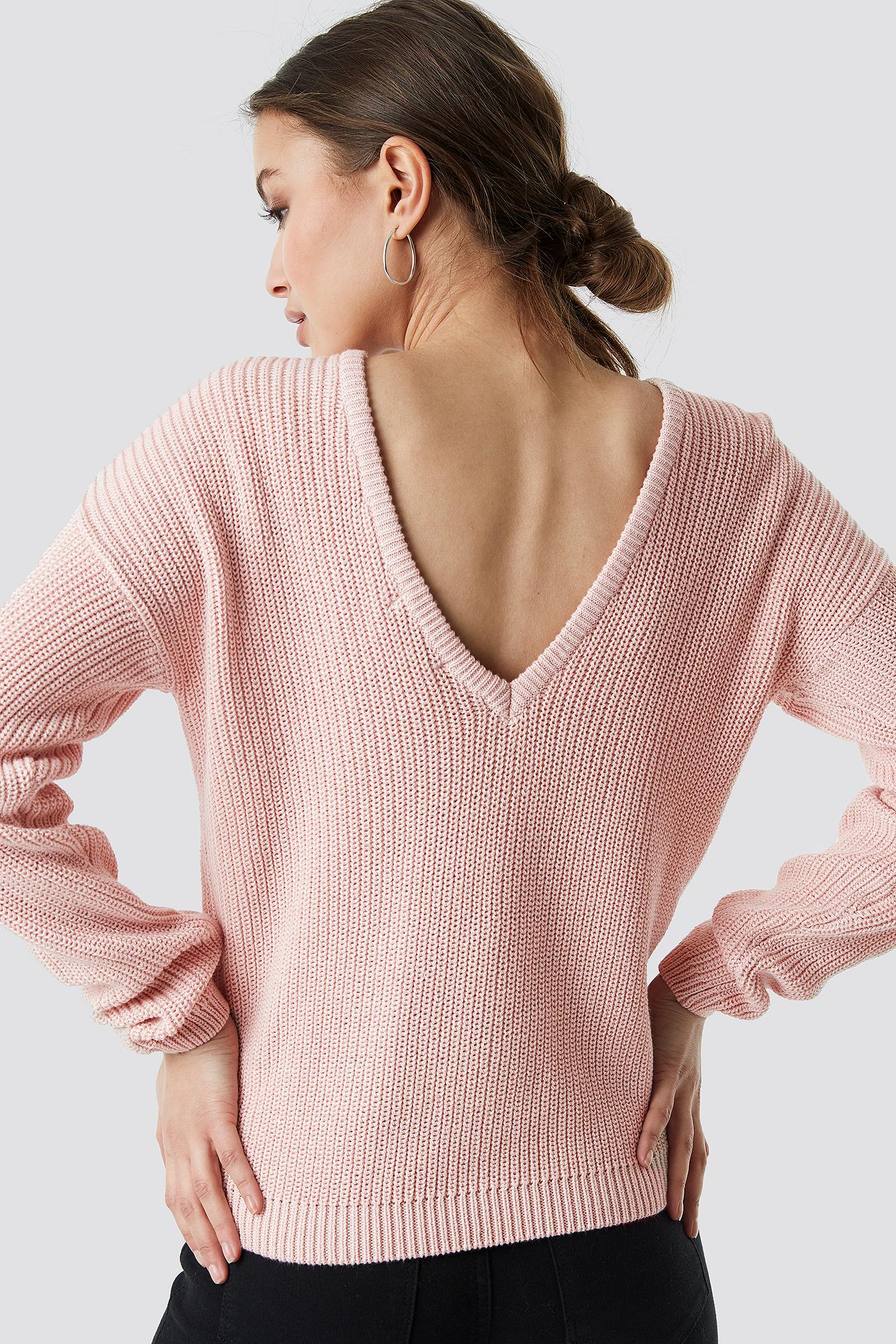 Knitted Deep V-neck Sweater NA-KDLOUNGE.DE