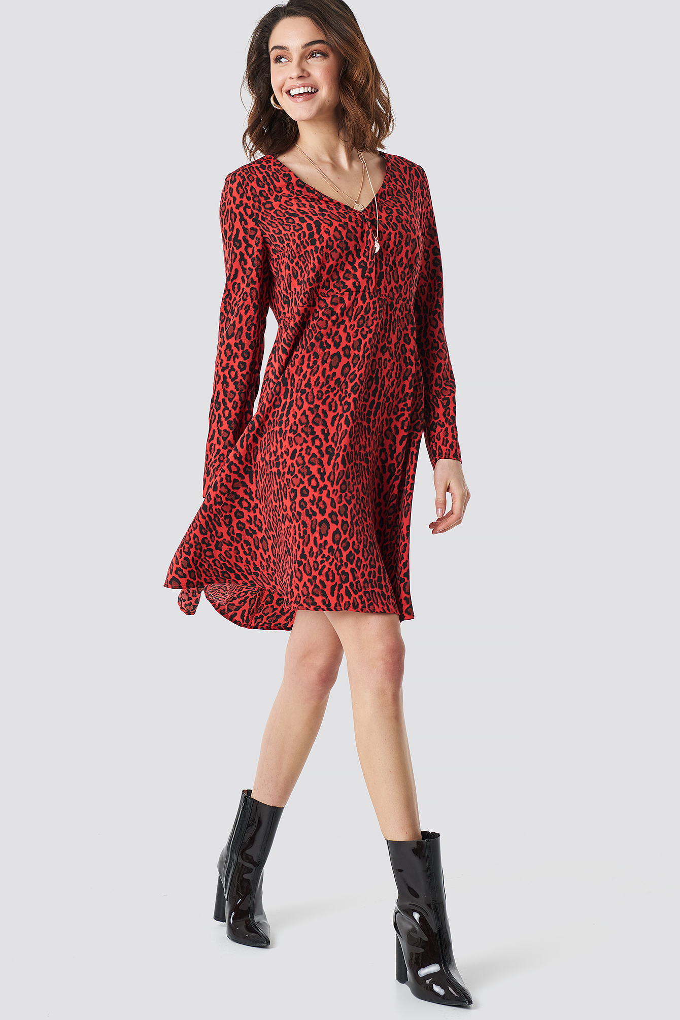 Leopard Print Button Up Ls Dress NA-KDLOUNGE.DE
