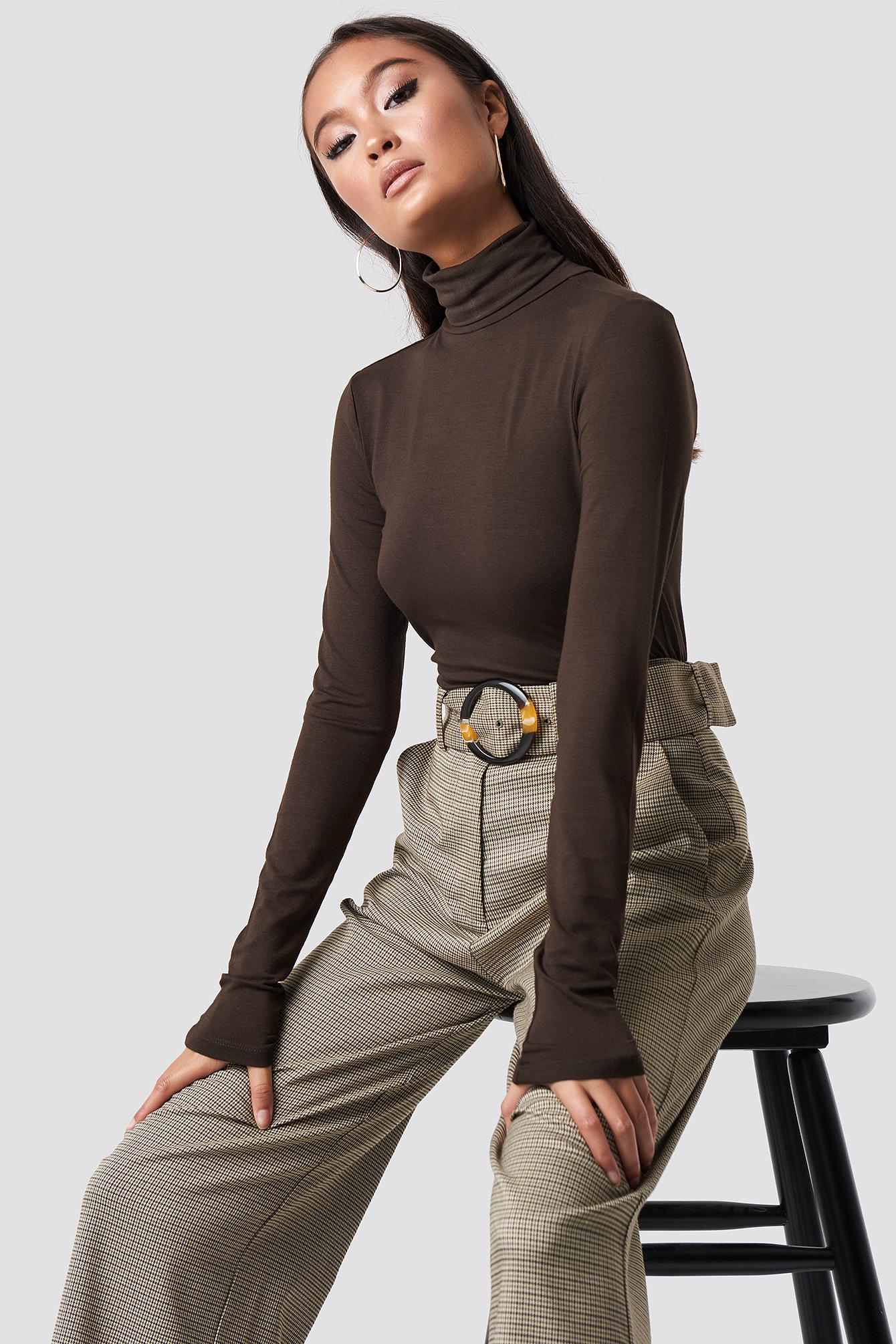 Viscose Long Sleeve Polo Top NA-KDLOUNGE.DE