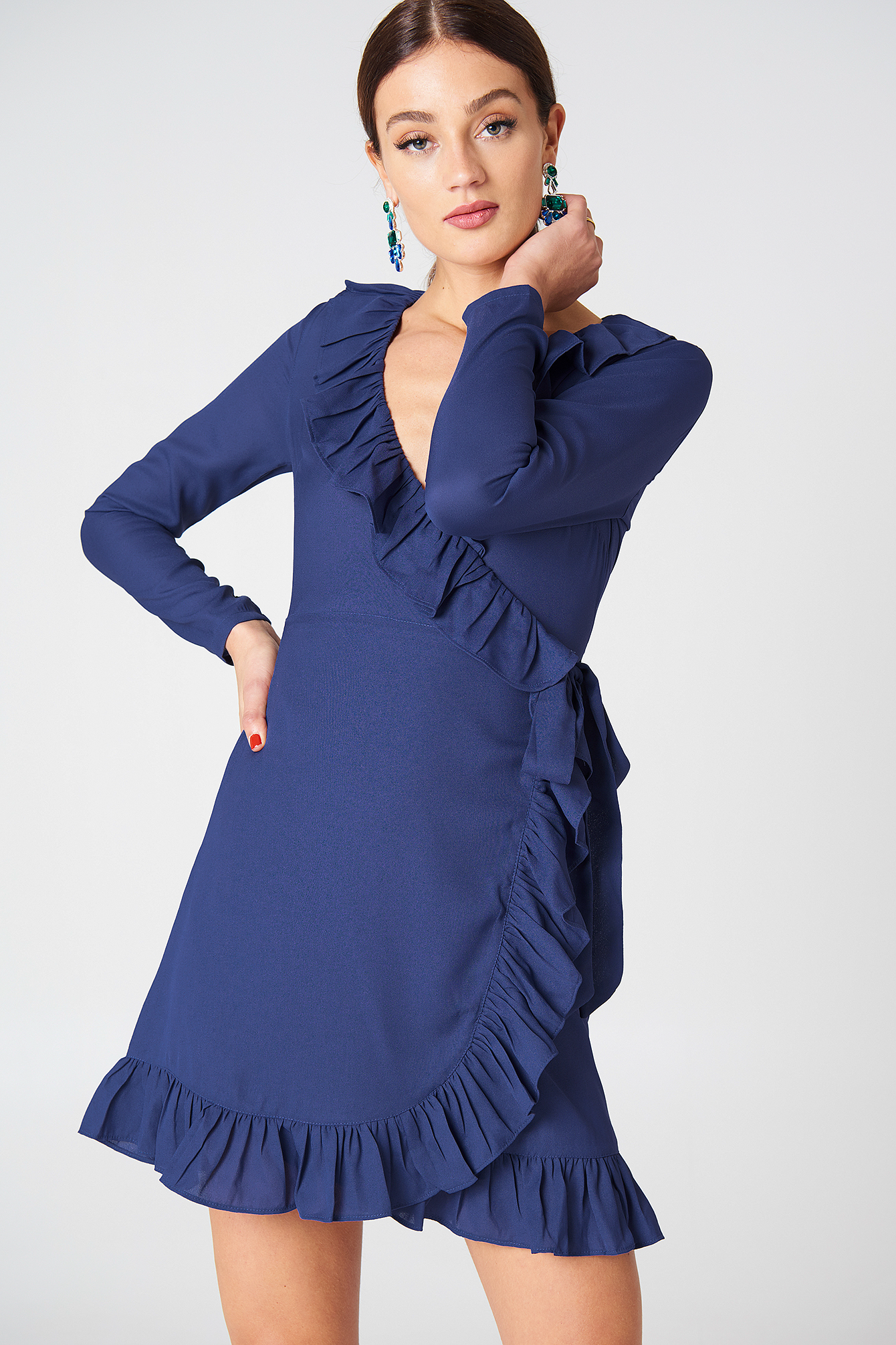 Long Sleeve Wrap Frill Dress NA-KDLOUNGE.DE