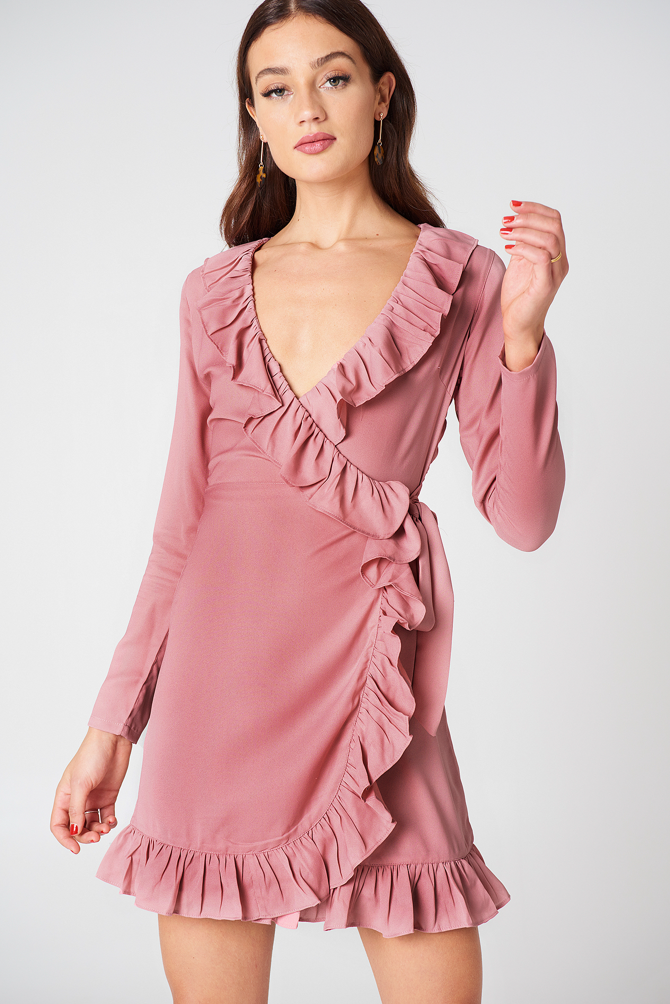 Long Sleeve Wrap Frill Dress NA-KDLOUNGE.DE