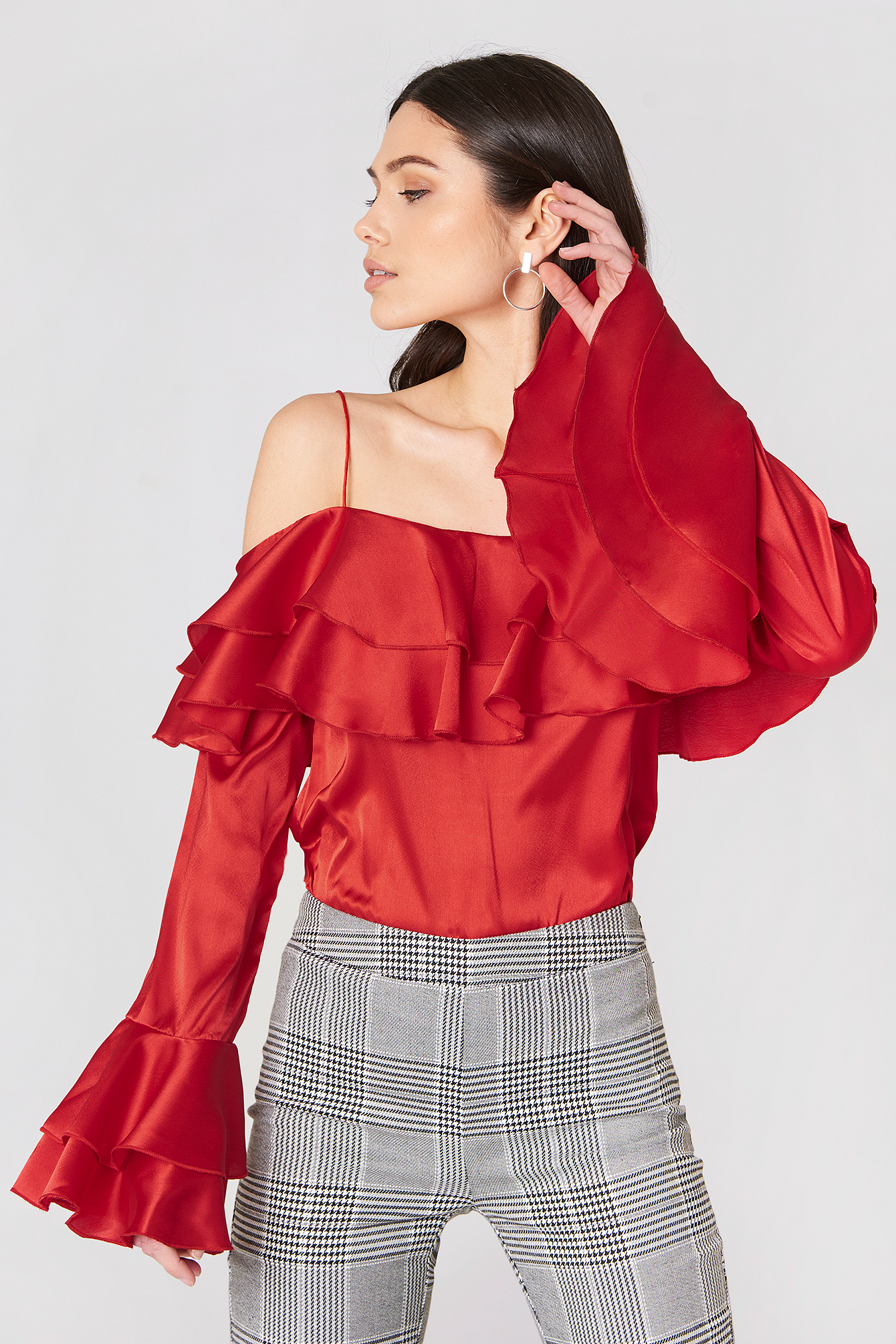 Off Shoulder Double Flounce Top NA-KDLOUNGE.DE