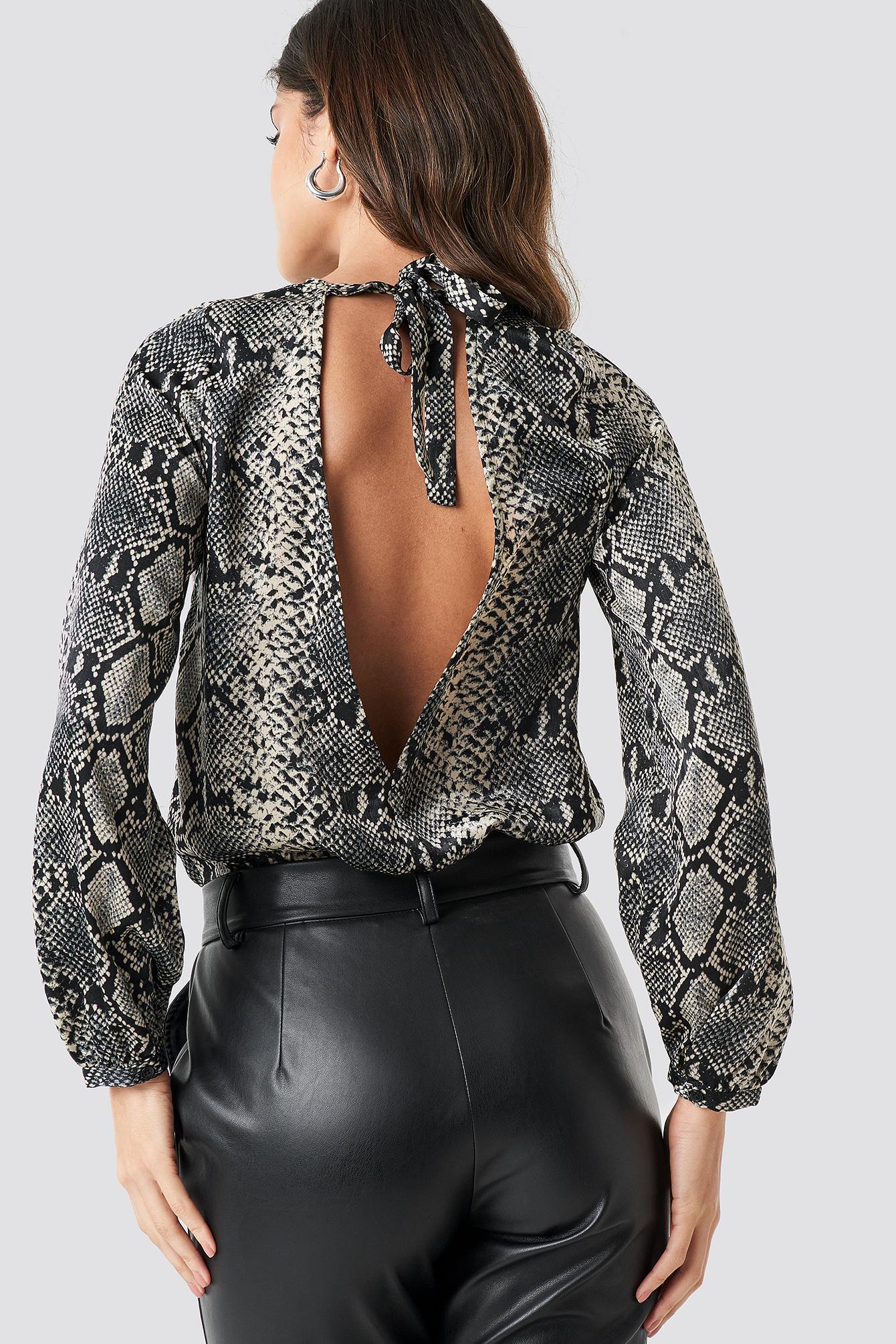 Open Back Printed Bodysuit NA-KDLOUNGE.DE