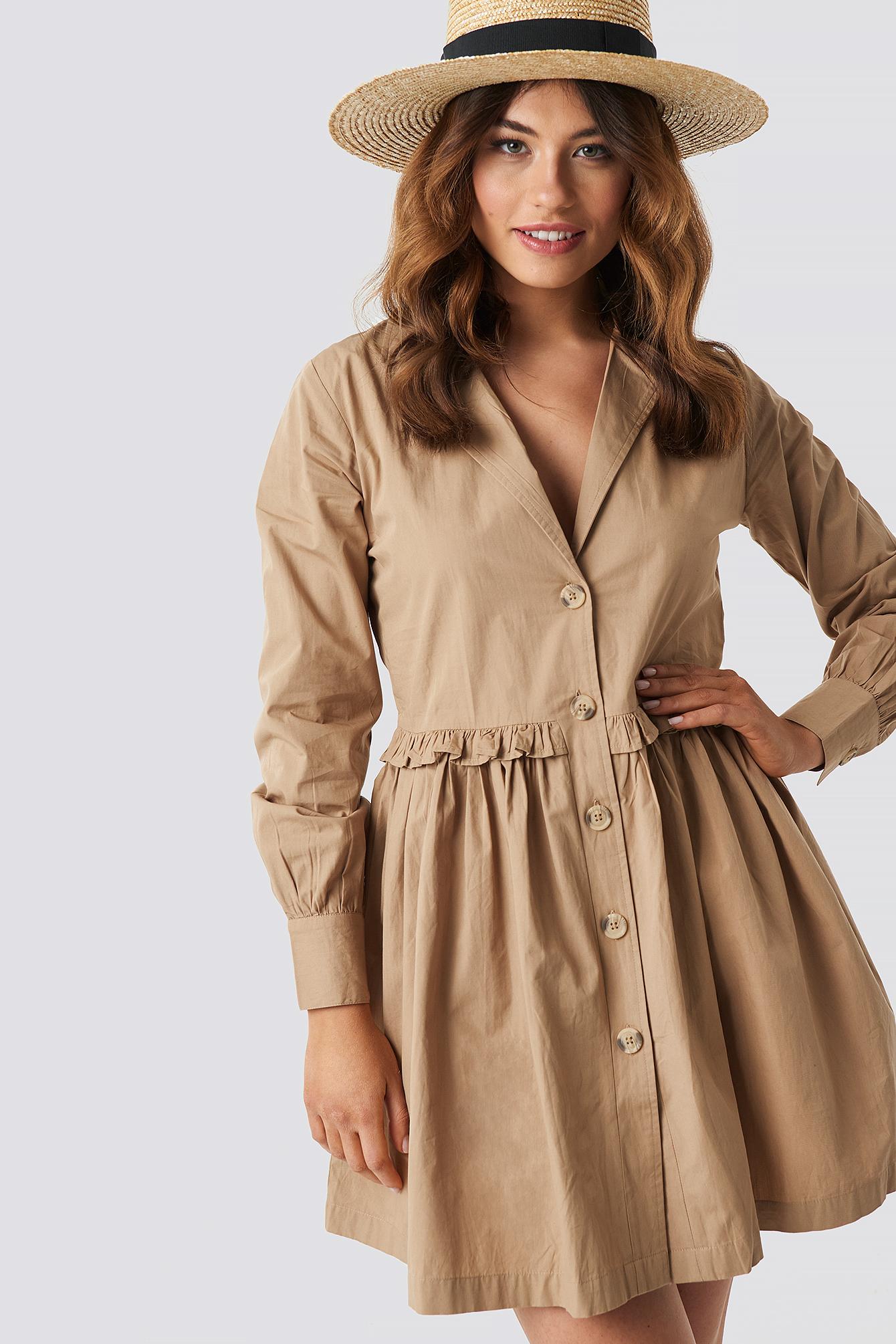 Oversize Ruffle Detail Shirt Dress NA-KDLOUNGE.DE