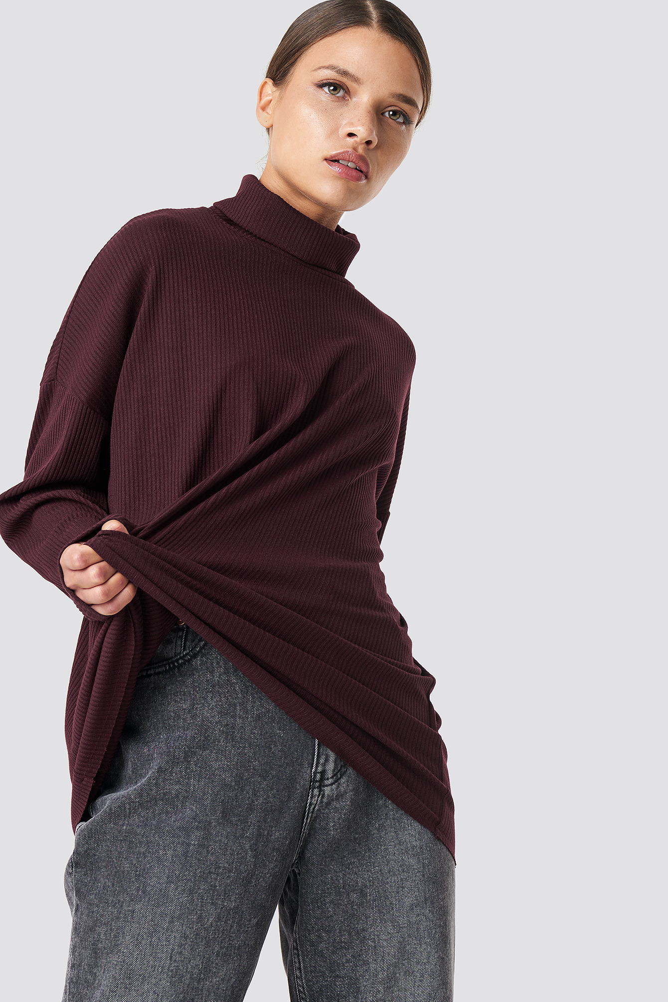 Ribbed Knitted High Neck Sweater NA-KDLOUNGE.DE