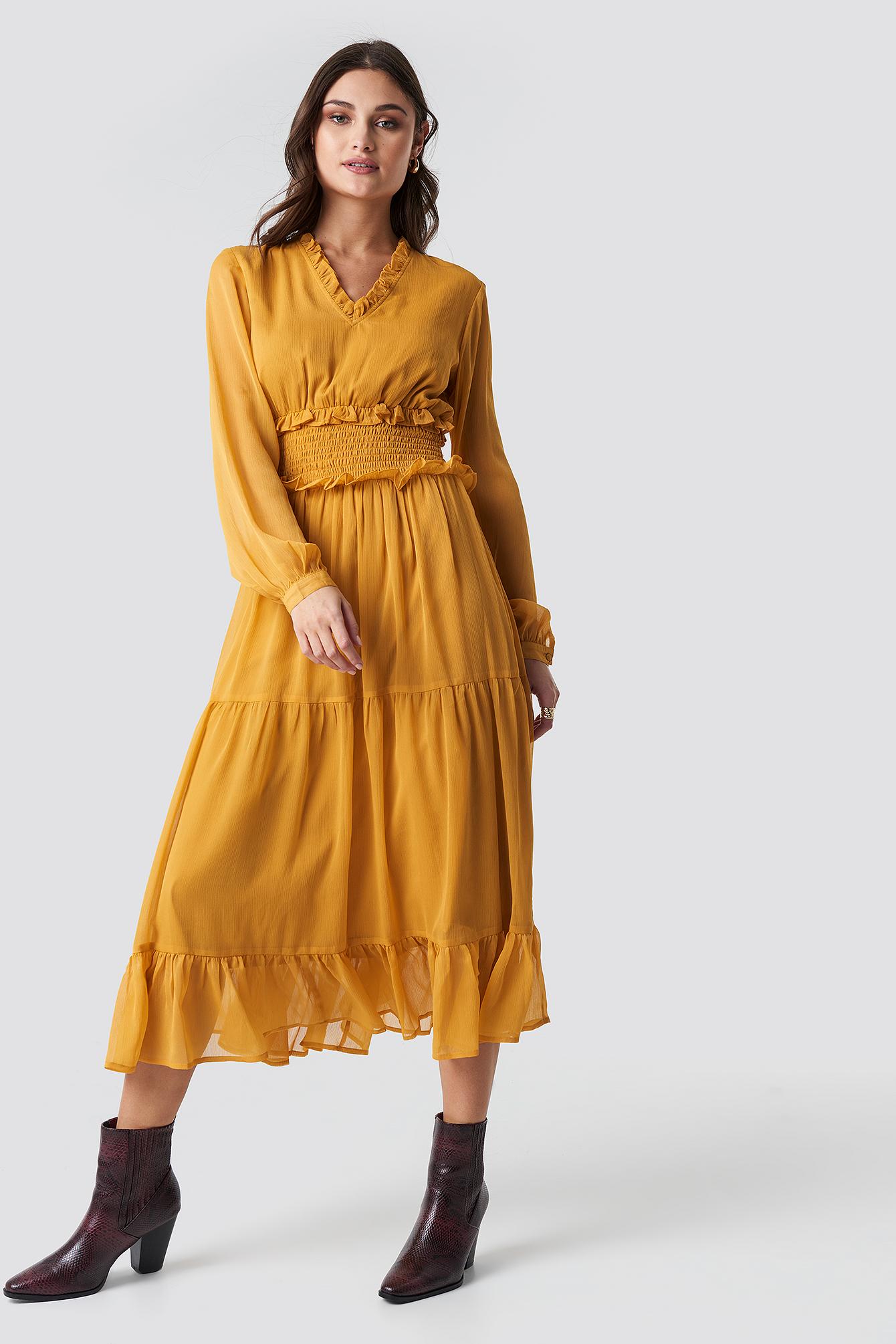 Ruffle Details Flowy Midi Dress NA-KDLOUNGE.DE